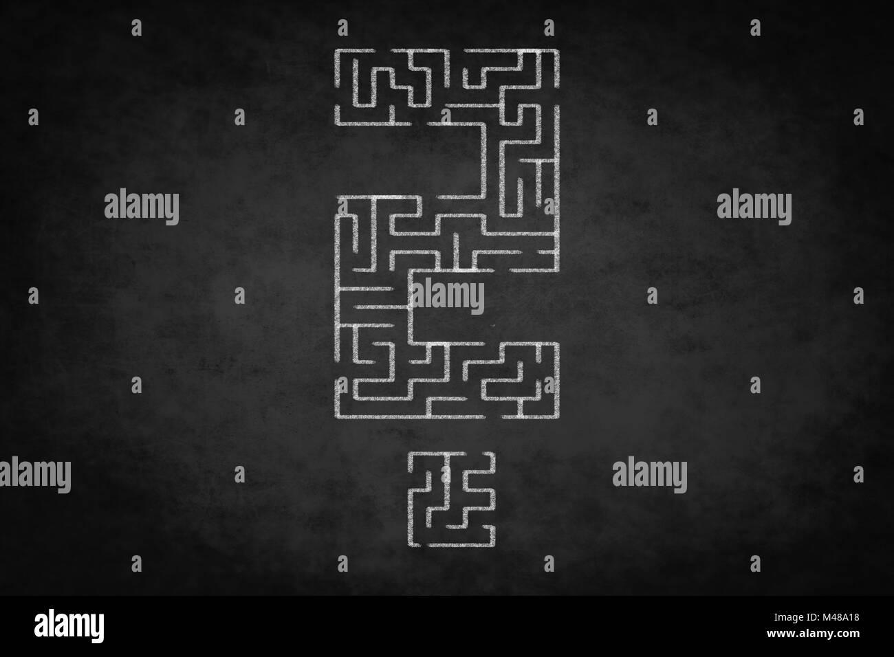 question mark, problem concept - labyrinth  illustration - Stock Image