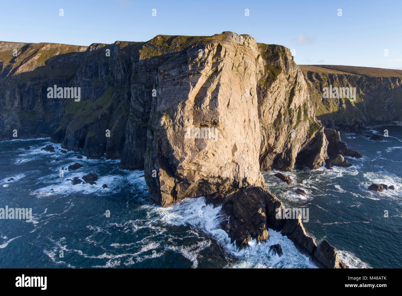 Aerial view of Benwee Head, County Mayo, Ireland. - Stock Image