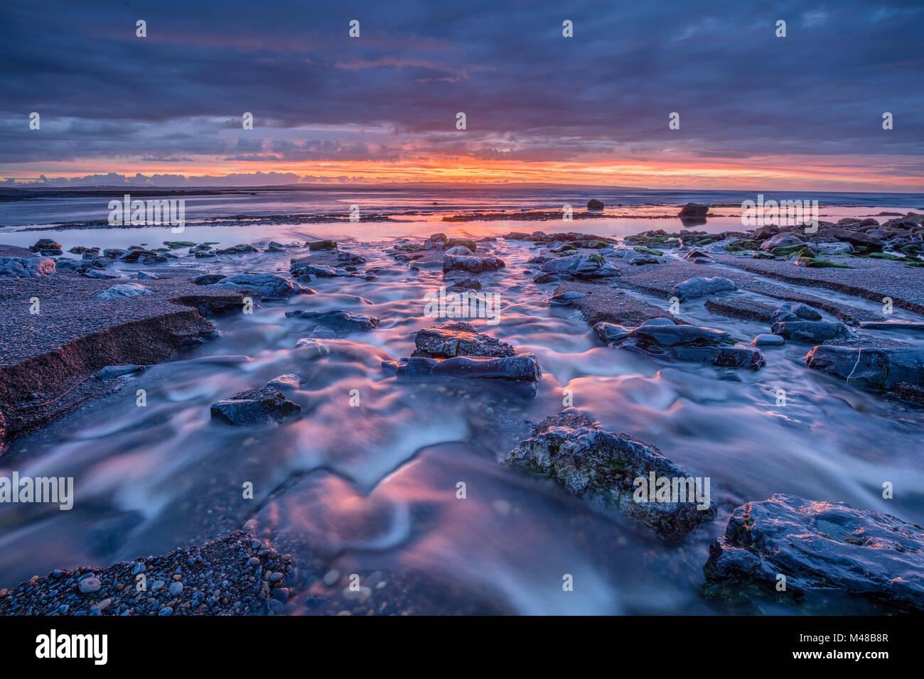 Coastal sunset near Enniscrone, Killala Bay, County Sligo, Ireland. Stock Photo