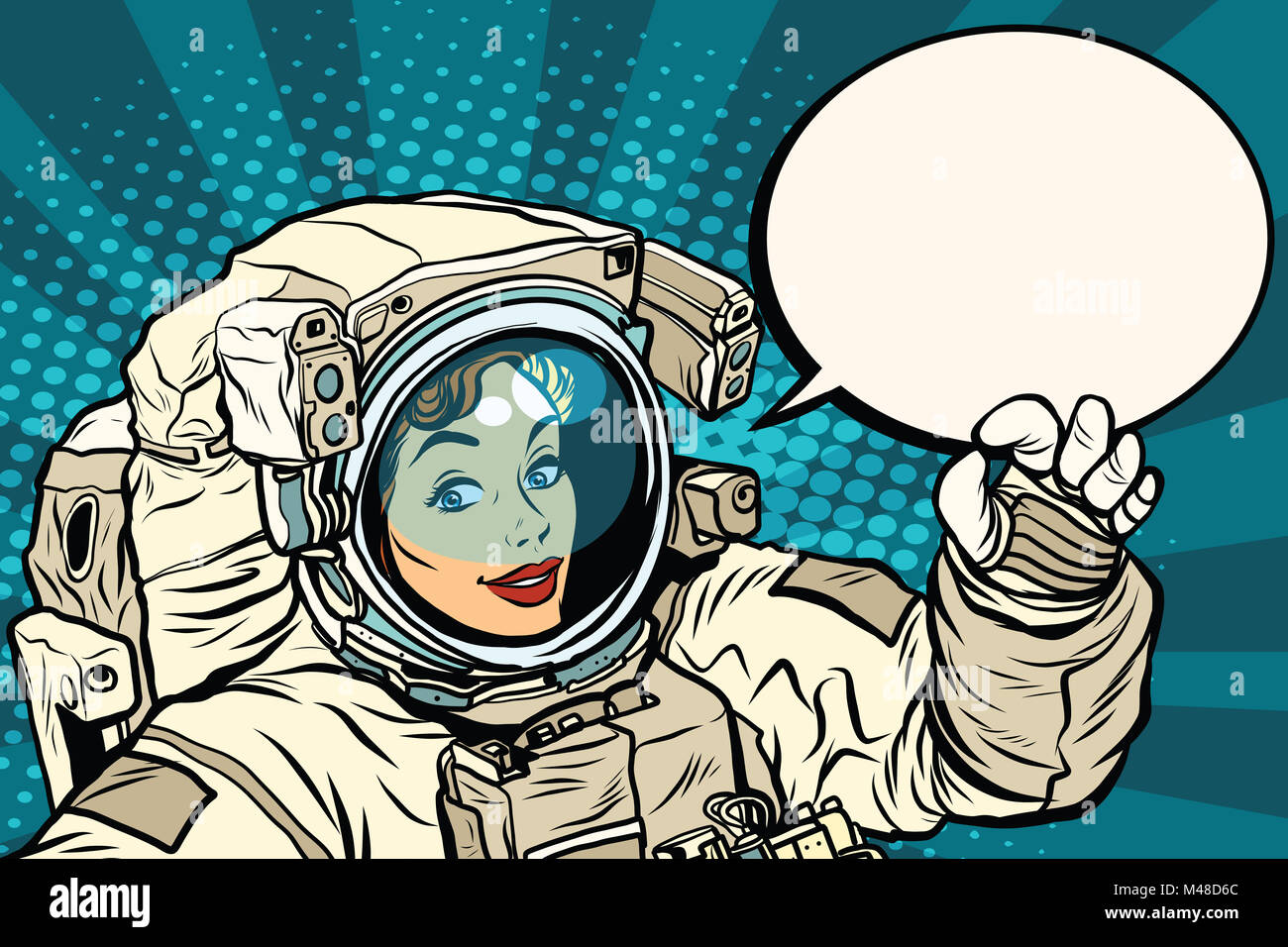 OK gesture female astronaut in a spacesuit - Stock Image