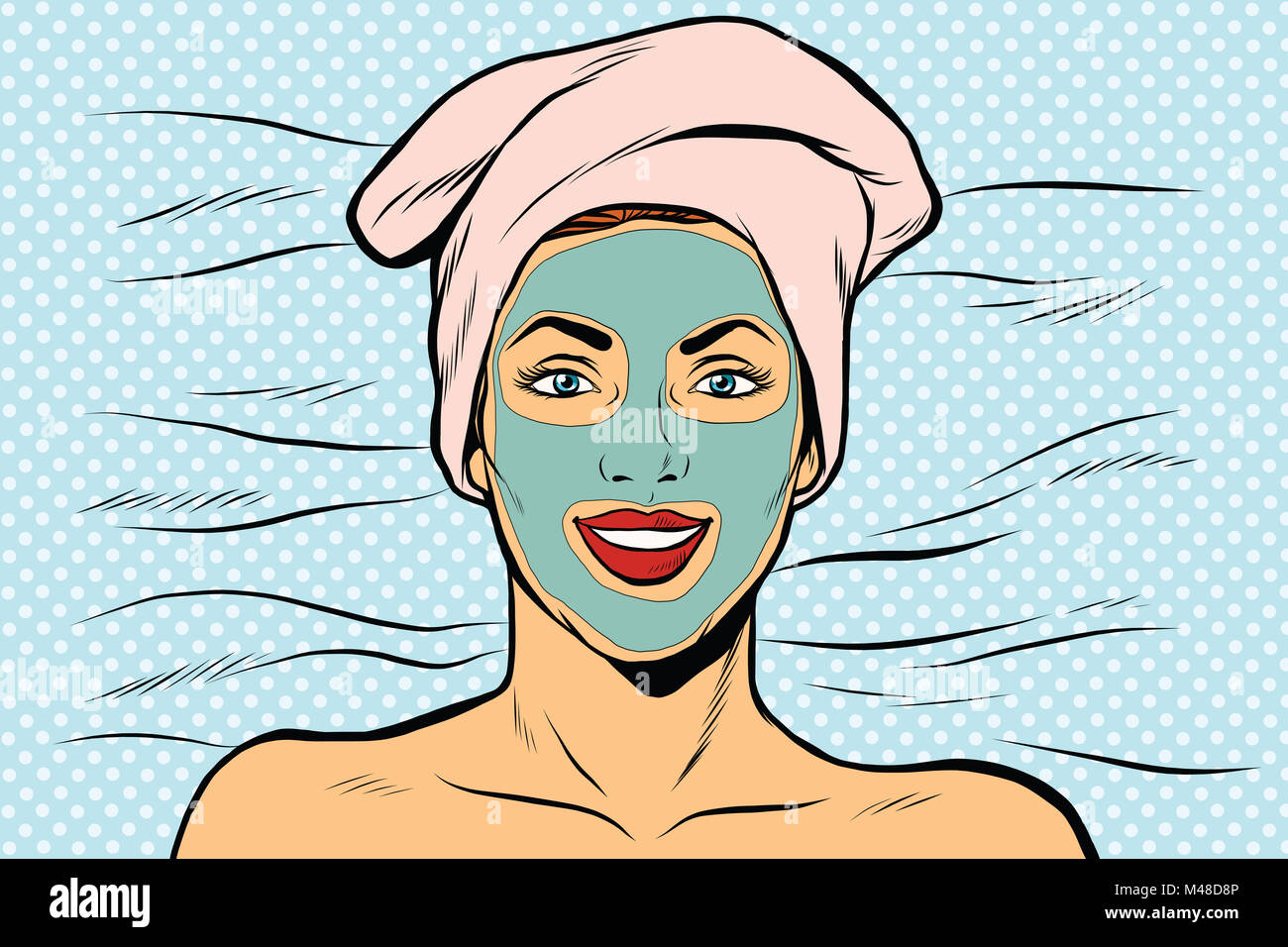 Woman with cosmetic mask on face - Stock Image