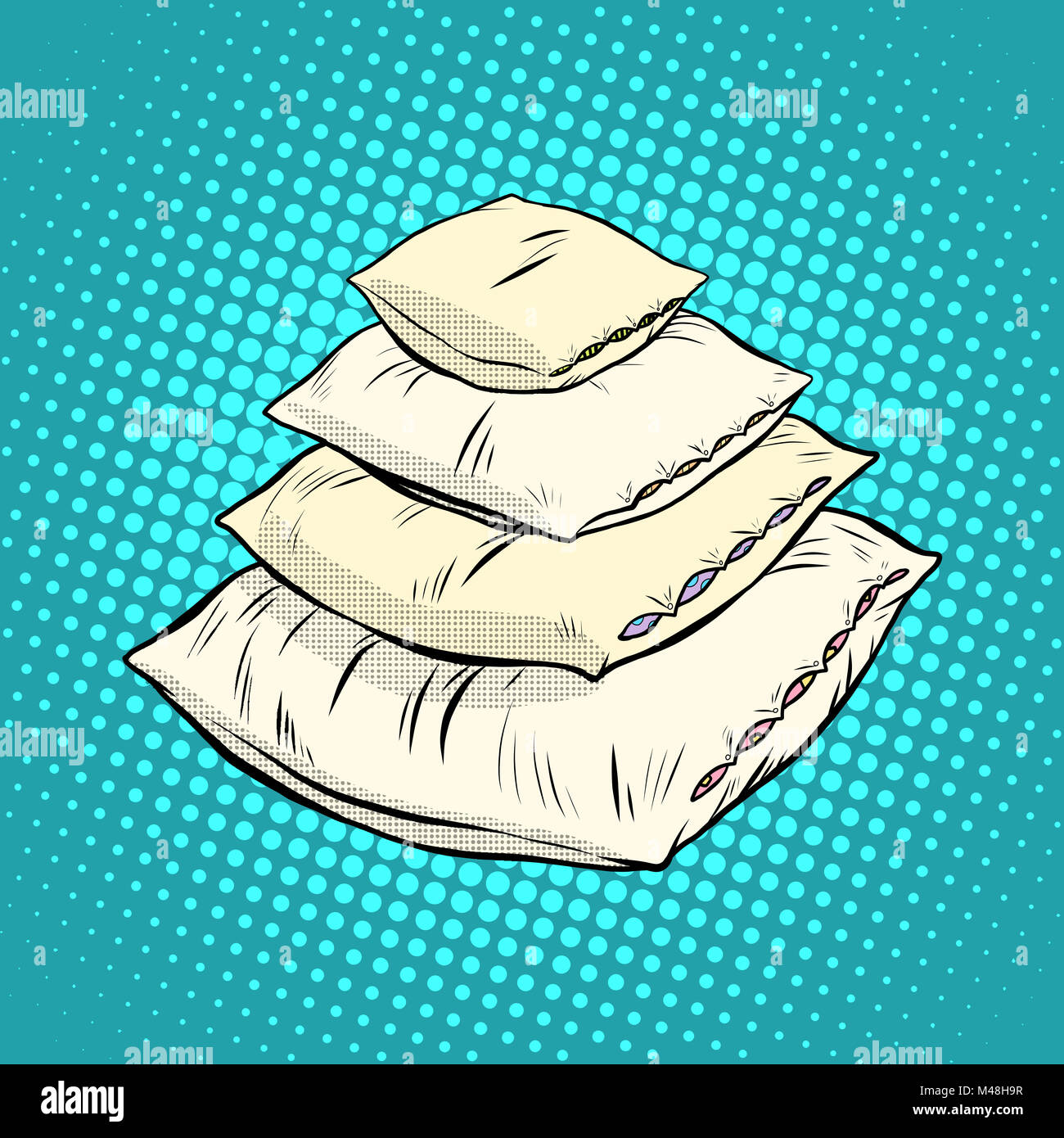 Realistic white pillows, retro vector - Stock Image