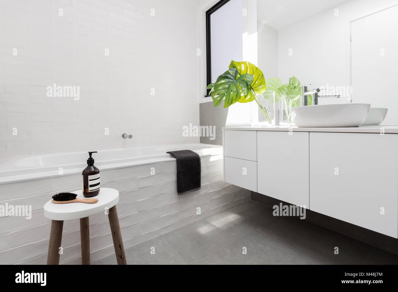Stylish family bathroom of white scandinavian theme Stock Photo ...