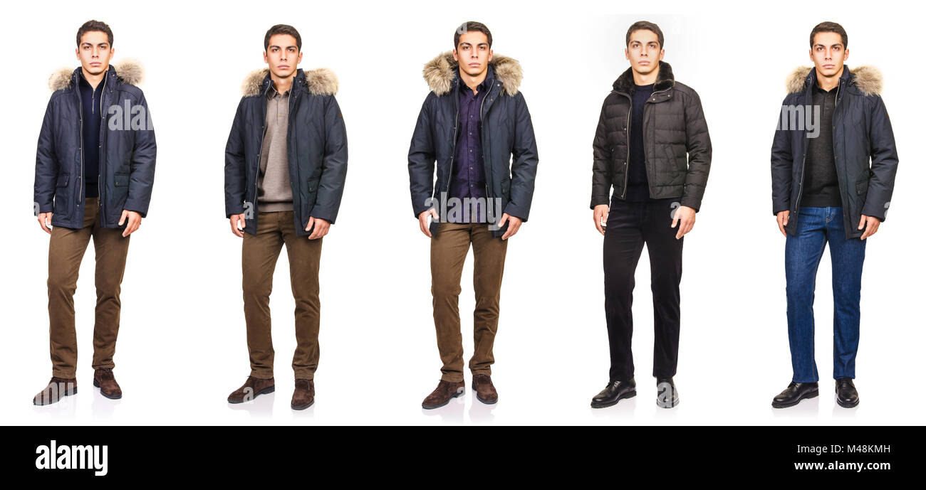 Young man in fashion concept isolated on white - Stock Image