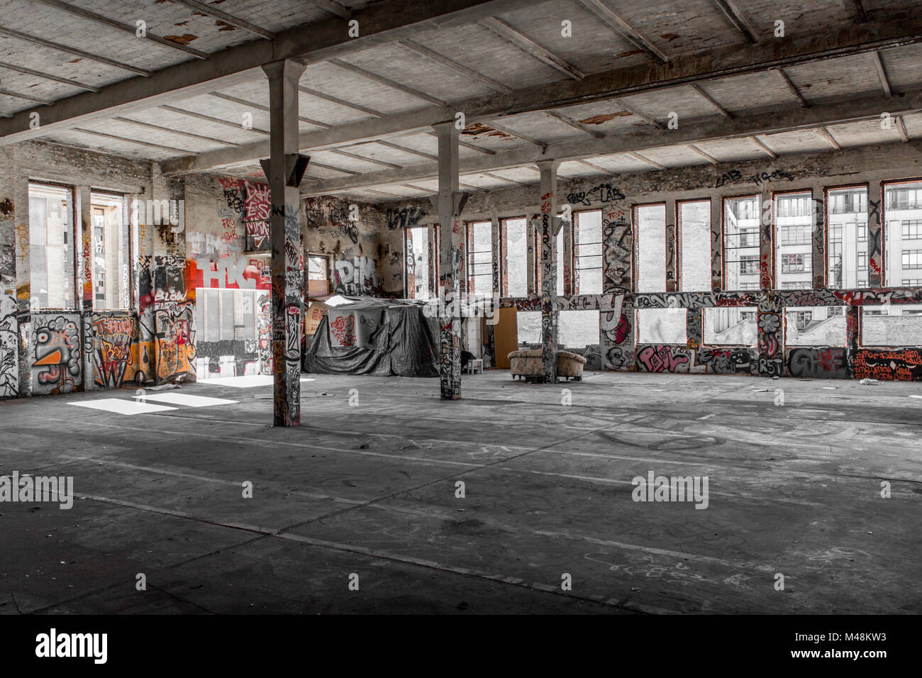 Abandoned Warehouse Interior , Old Building Interior