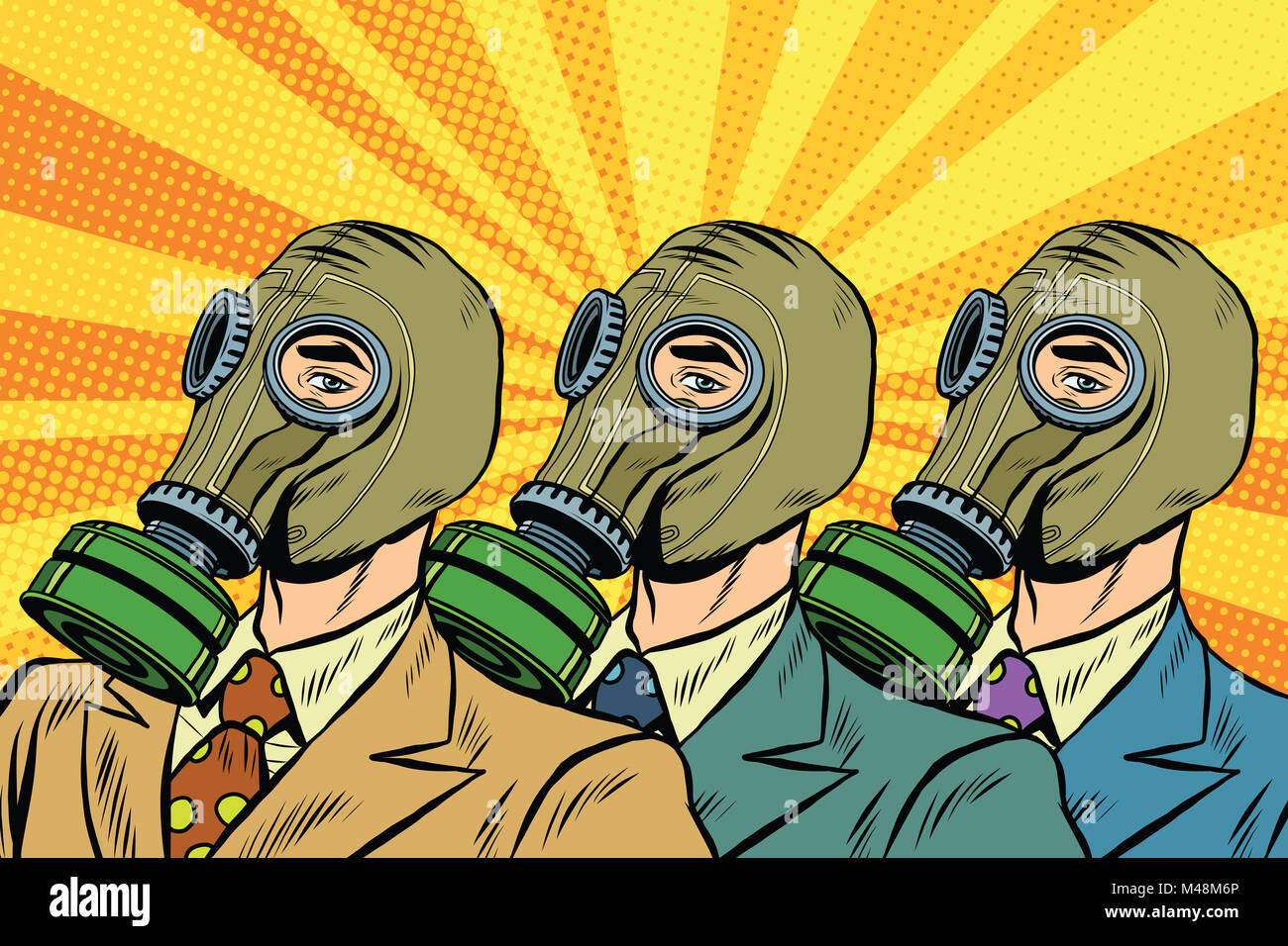 People in gas masks the Sots art style - Stock Image