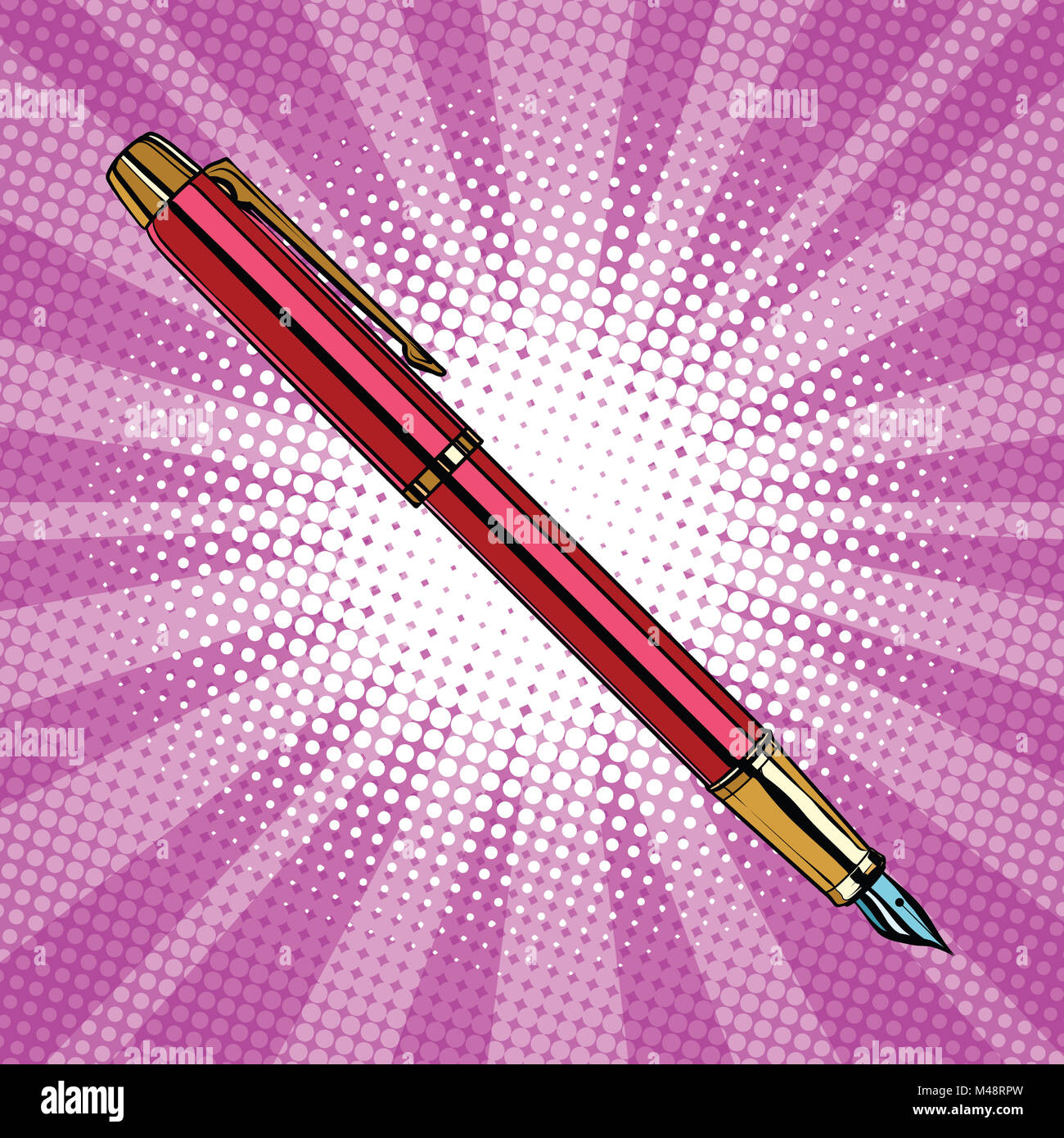 Expensive ink pen business accessory - Stock Image