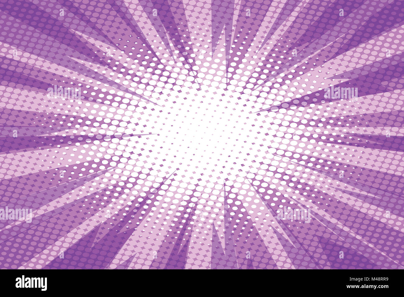 Purple pop art retro burst background - Stock Image