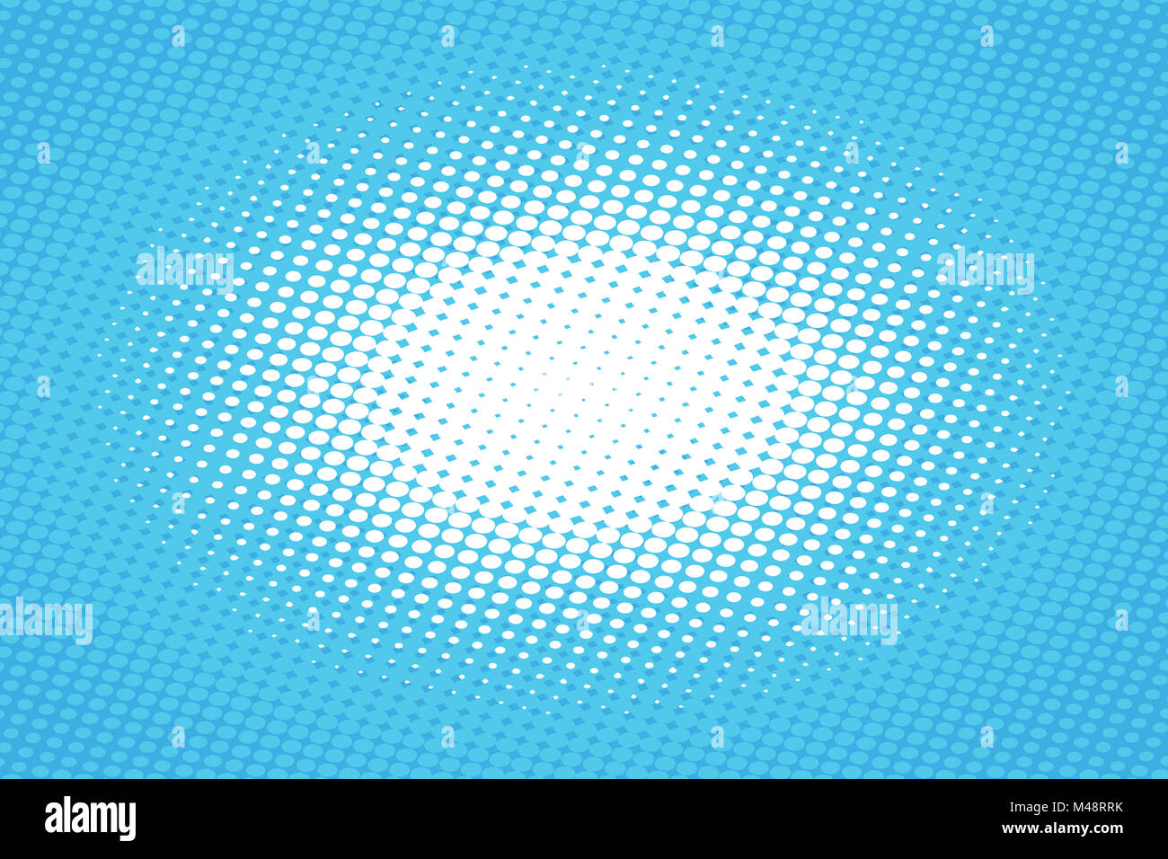Blue pop art retro background with halftone effect - Stock Image