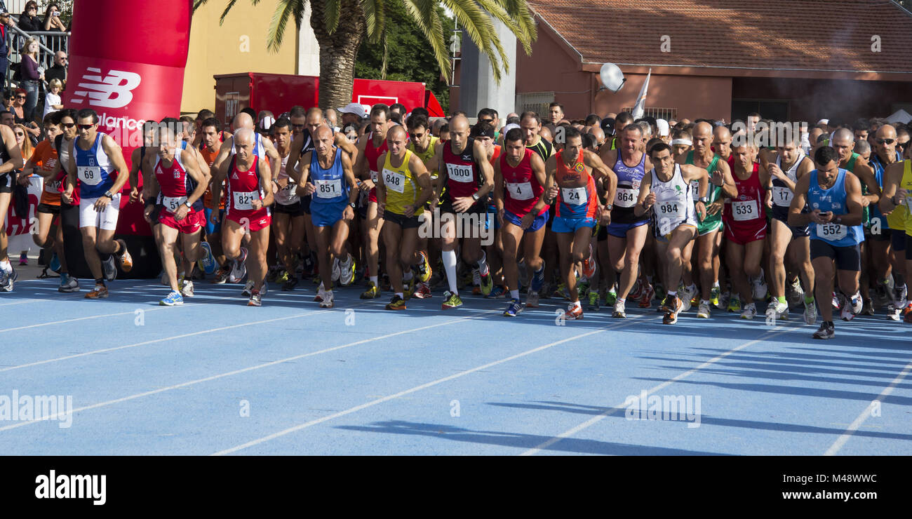 Marathon runners at the start - Stock Image