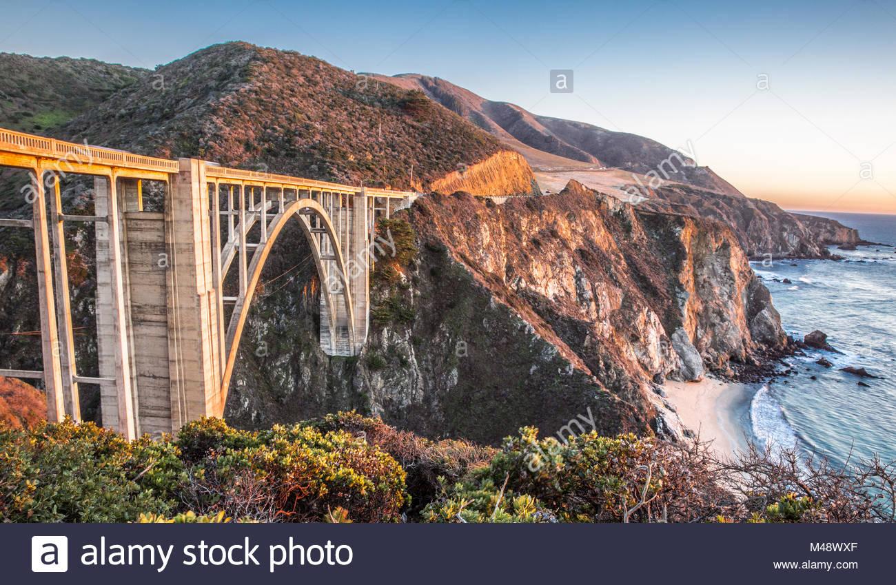Sunset over Bixby Bridge, Big Sur, California - Stock Image