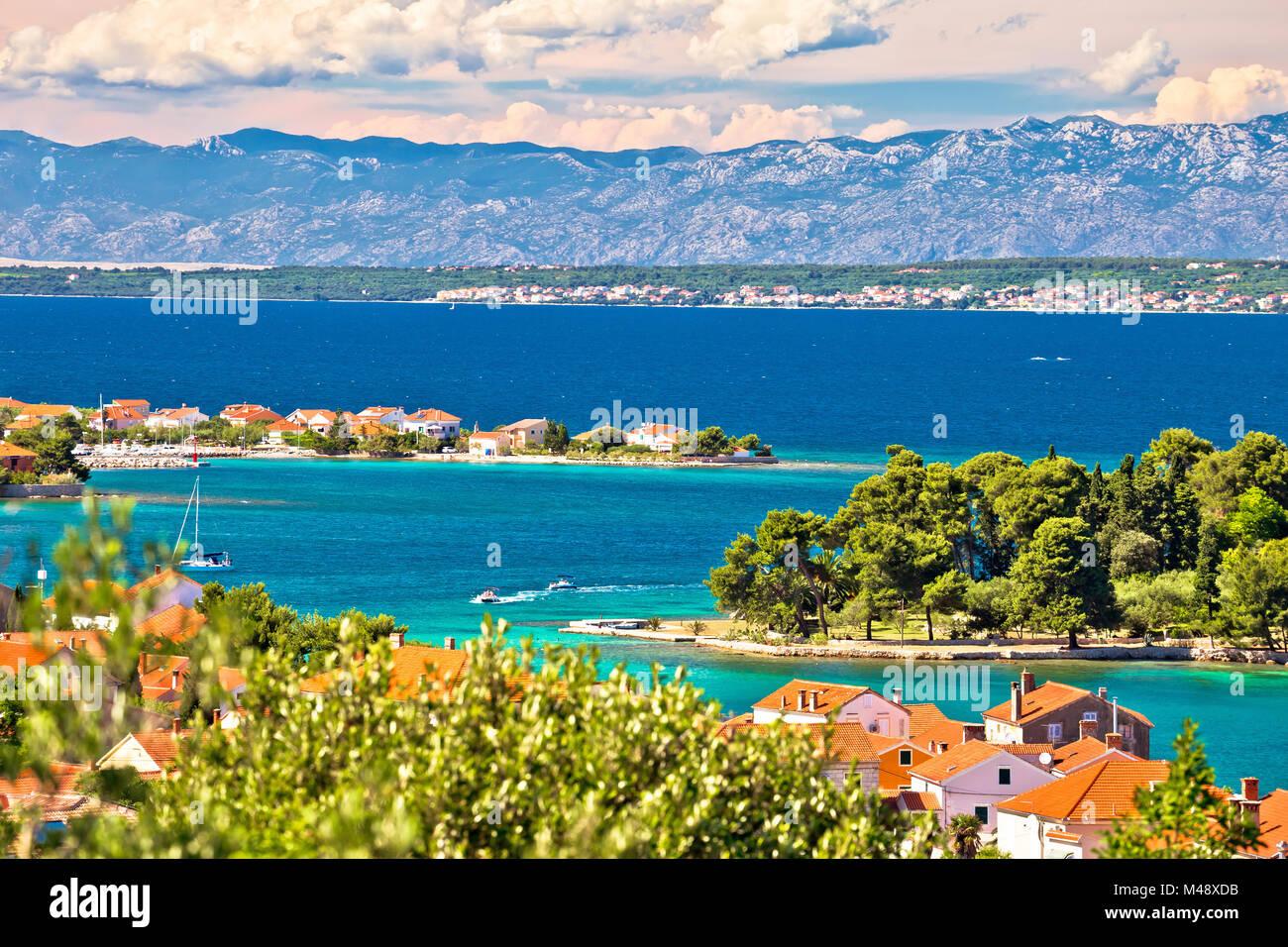 Zadar islands archipelago and Velebit mountain view Stock Photo