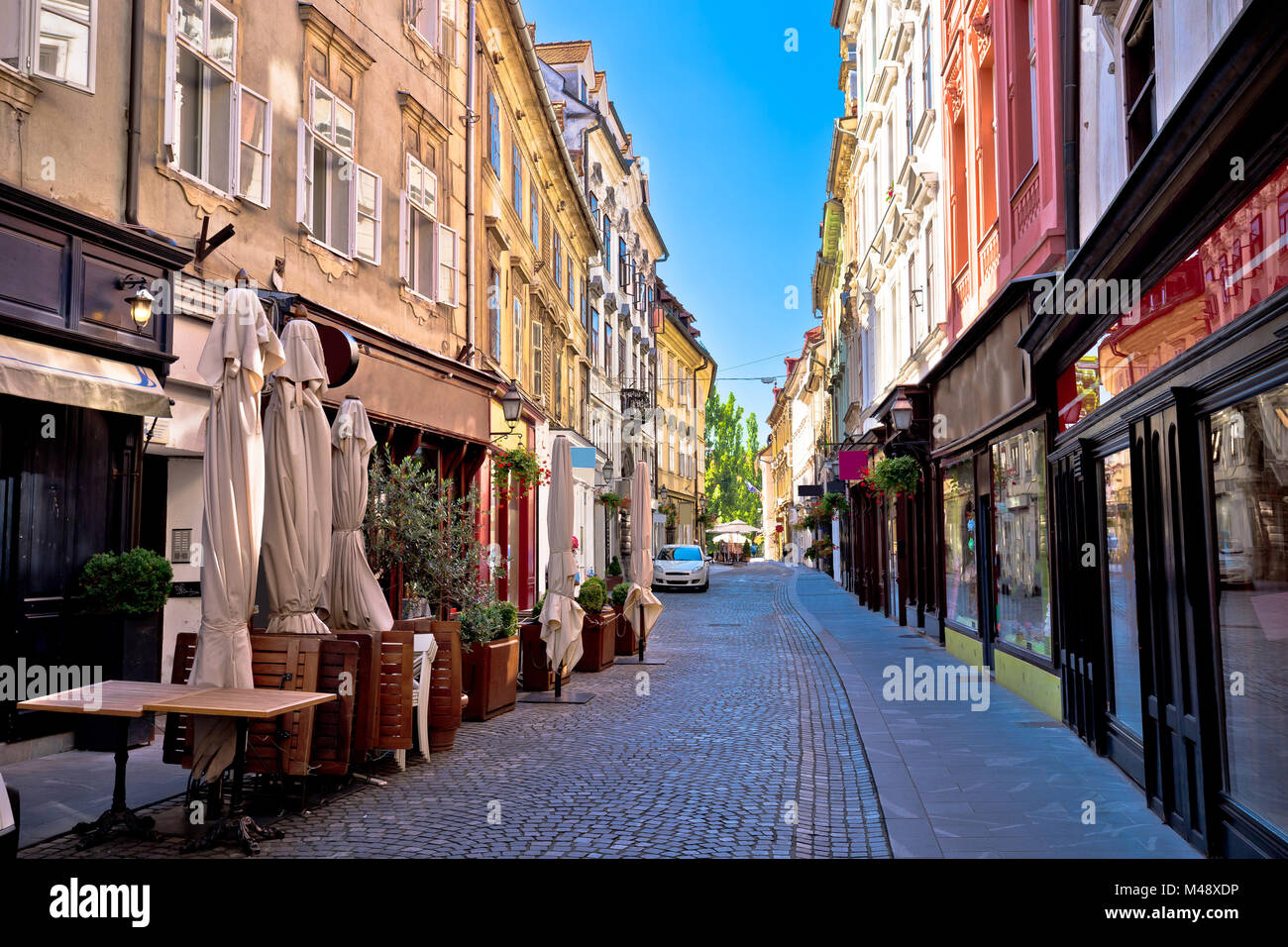 Old Ljubljana cobbled street view - Stock Image
