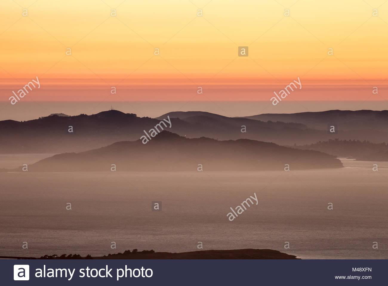 Hazy sunset over the Hills of Marin County, California Stock Photo