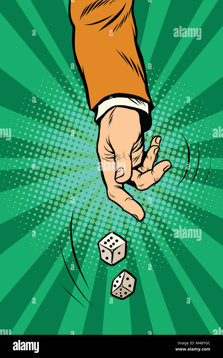 Throw the dice, game randomness casino - Stock Image