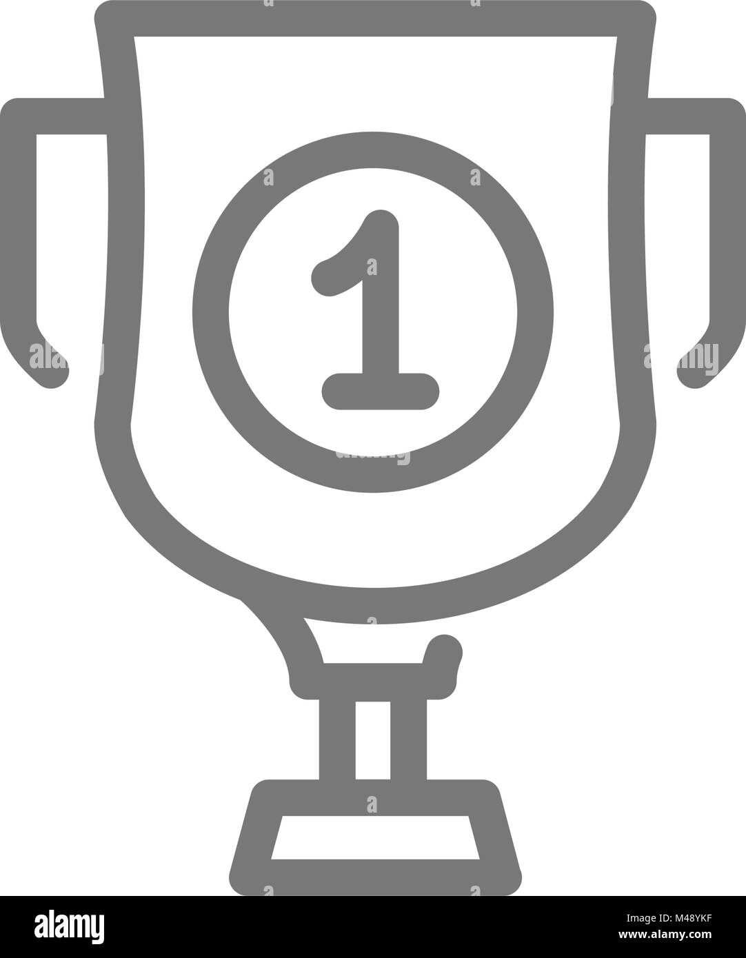 Simple Trophy And Award Cup Line Icon Symbol Sign Vector Illustration Design Isolated