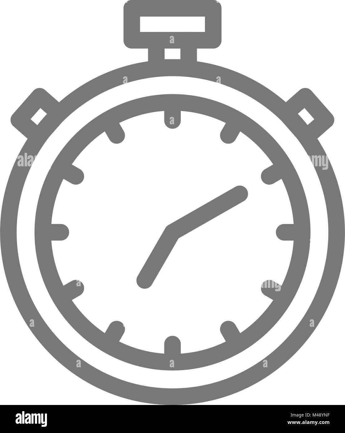 Simple stopwatch and timer line icon. Symbol and sign vector illustration design. Isolated on white background - Stock Image