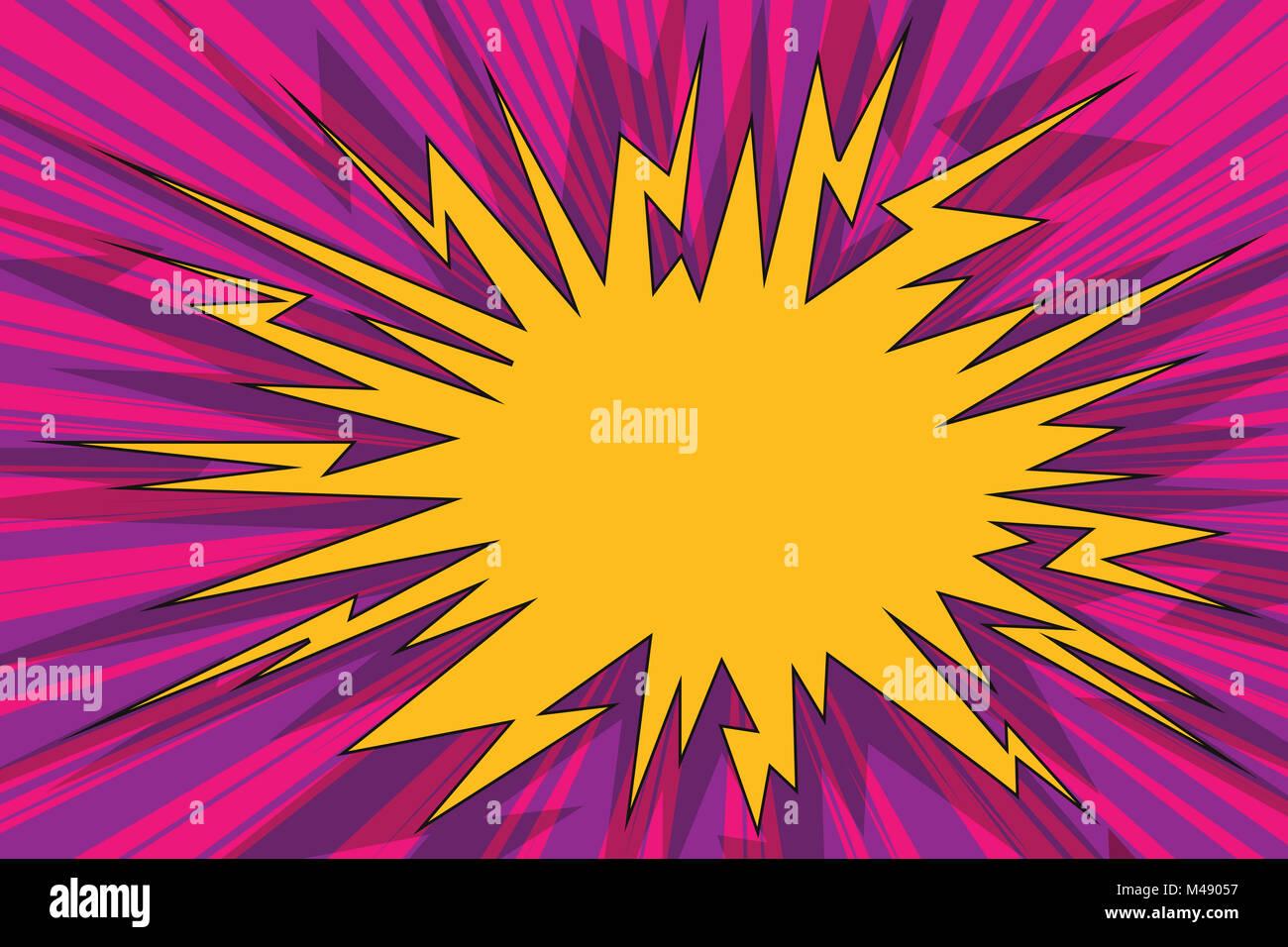 Explosive pop art background comics bubble - Stock Image