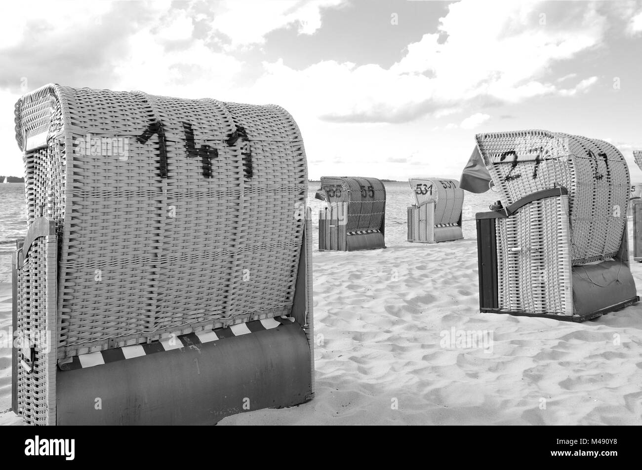 Beach chairs Laboe Baltic Germany in black and white Stock Photo