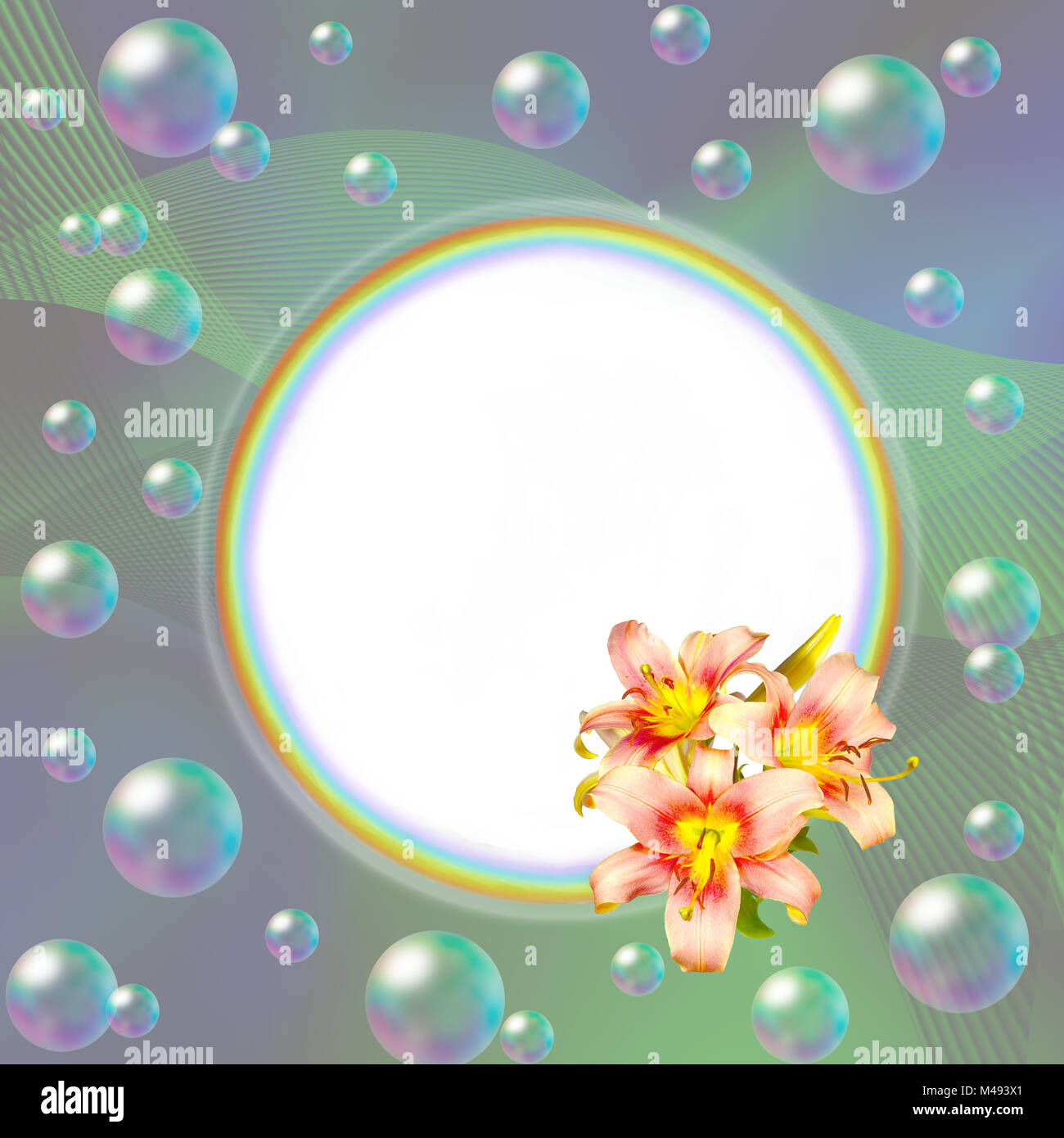 Round rainbow frame decorated with pink lilies and bubbles - Stock Image