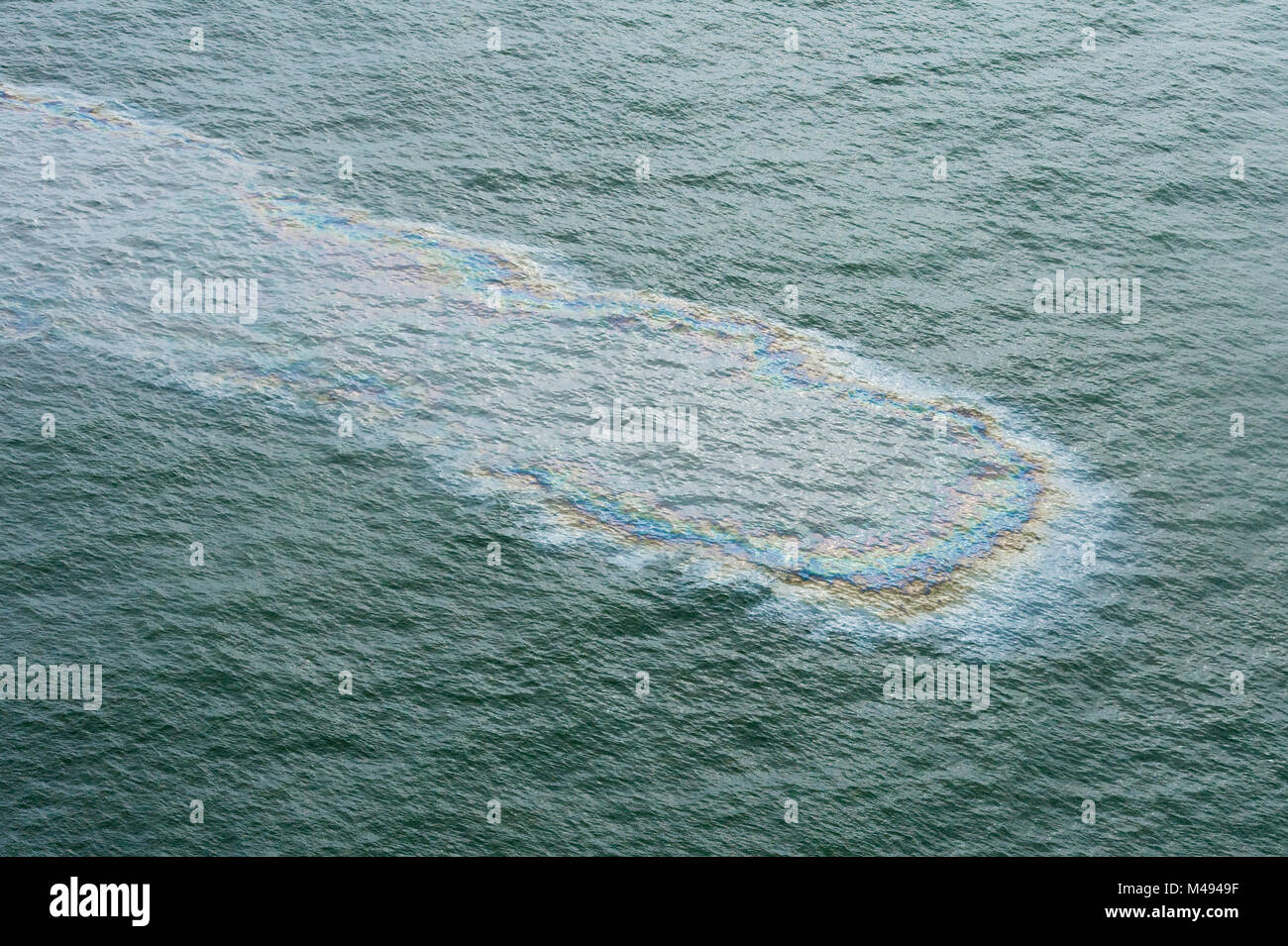 Aerial view of oil on surface of the sea during the Deepwater Horizon oil spill, Louisiana, Gulf of Mexico, USA, - Stock Image