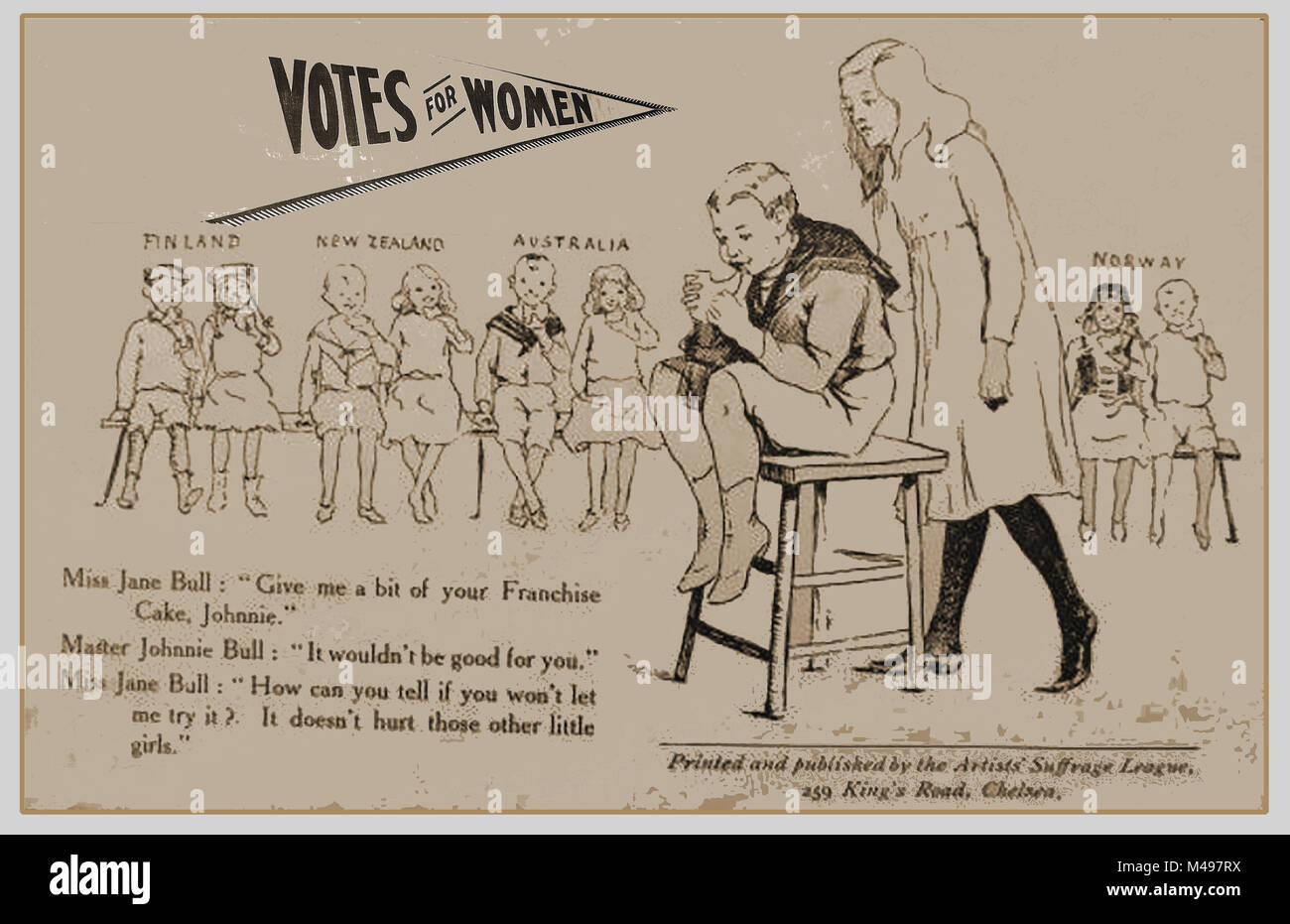 SUFFRAGETTES - An old Artist's Suffrage League illustration  - International votes for women (Finland, New Zealand, - Stock Image