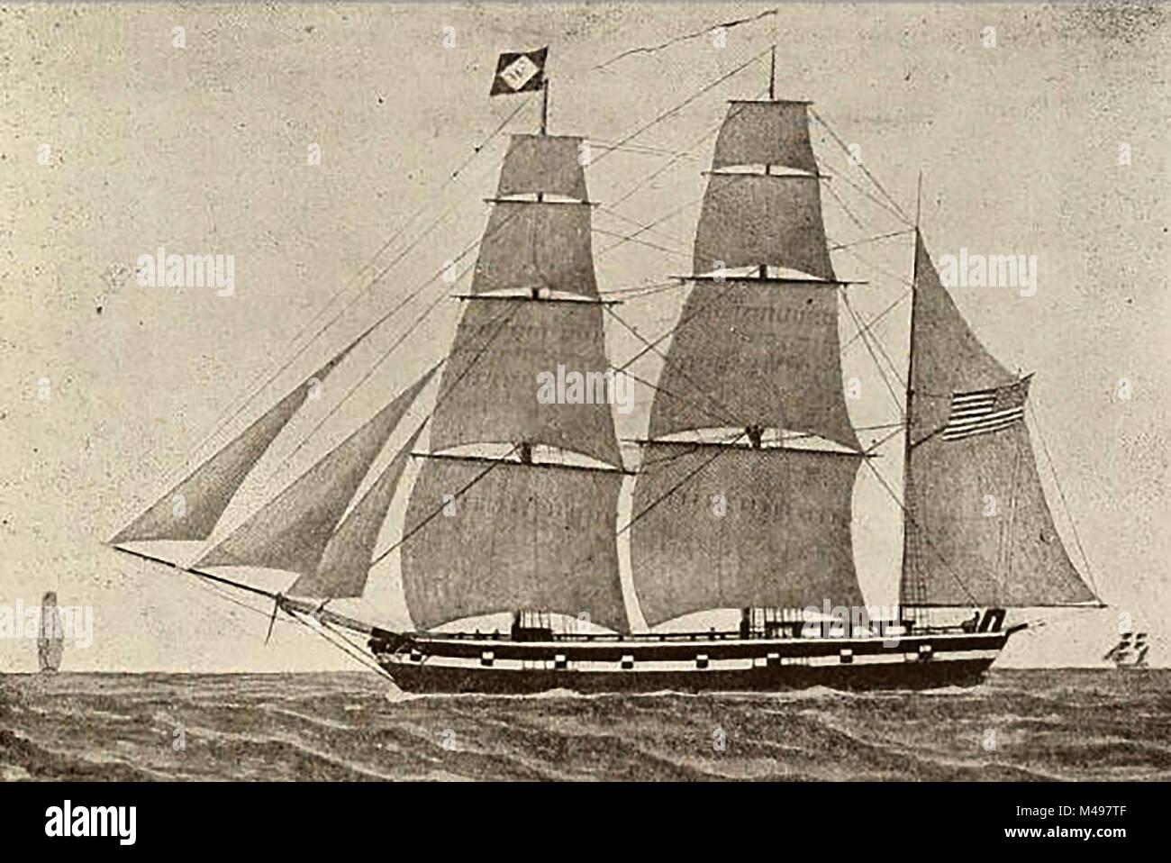 The American Bark ZOTOFF trader sailing ship  from Salem, built at Newbury, Mass. 20 tons - Stock Image