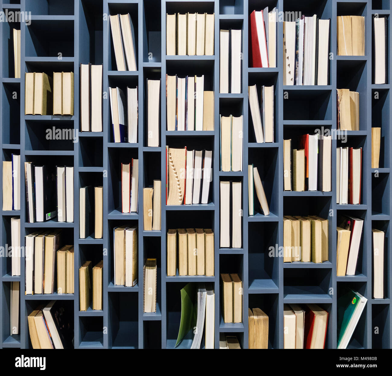 Books on blue wooden bookshelf. Book fore edges facing the front. - Stock Image