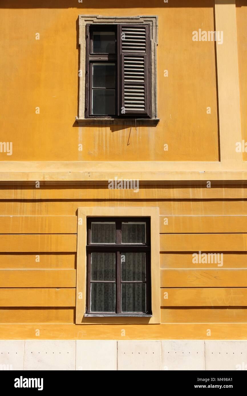 Pecs, Hungary. City in Baranya county. Old windows. - Stock Image