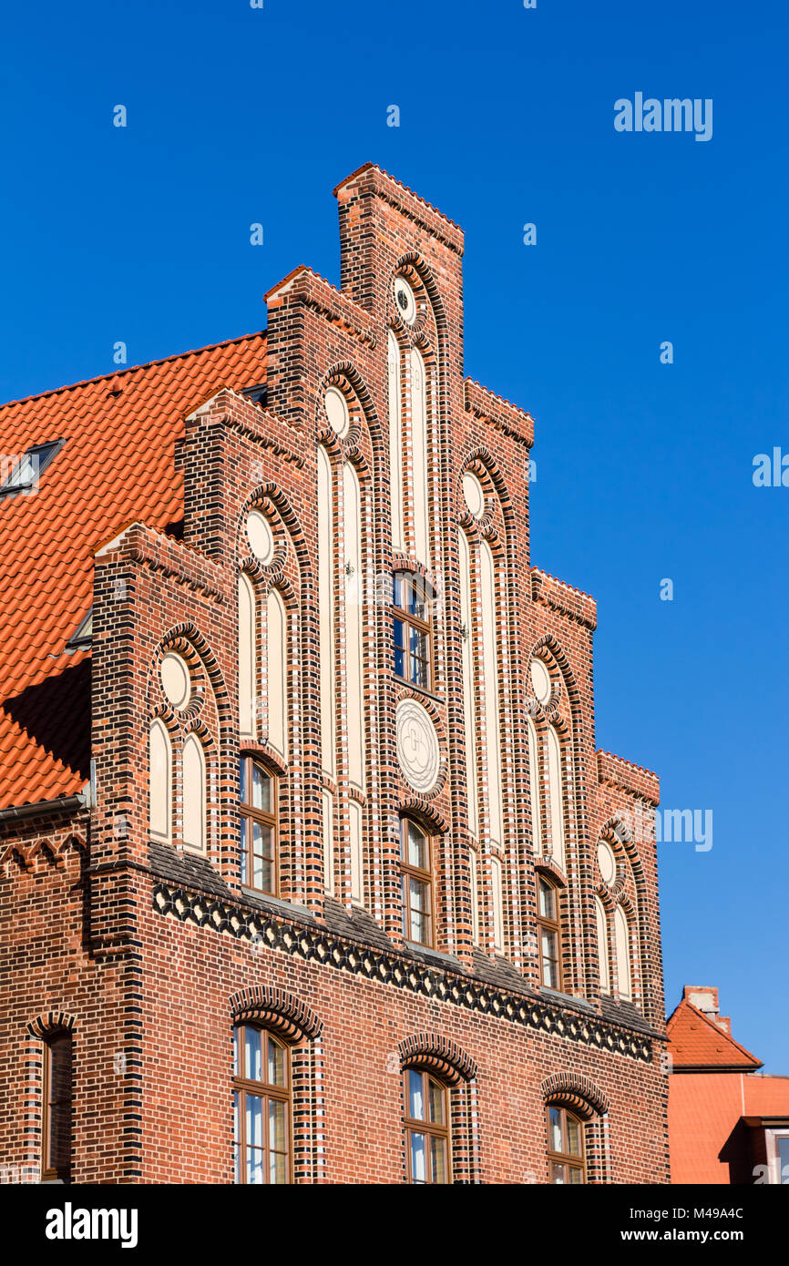 Historic building at the old harbor in Wismar Stock Photo