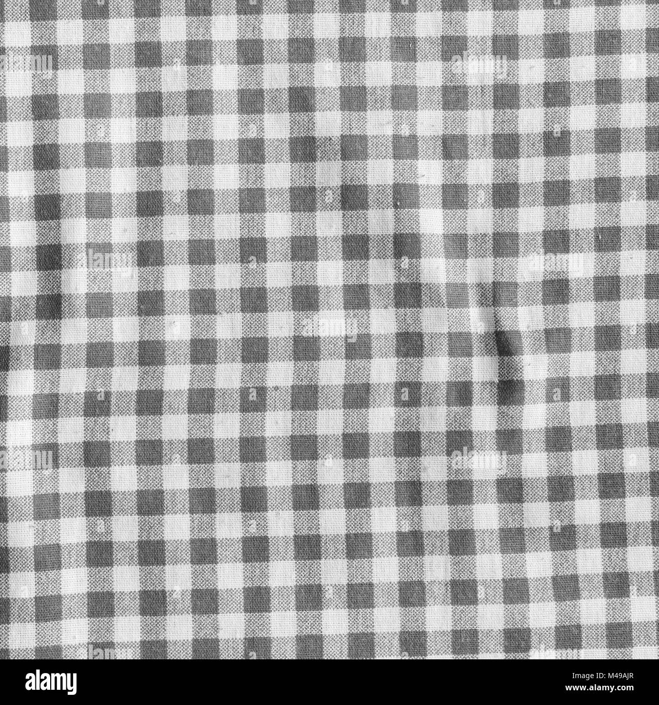 Black And White Picnic Tablecloth Background. Checkered Fabric Texture.