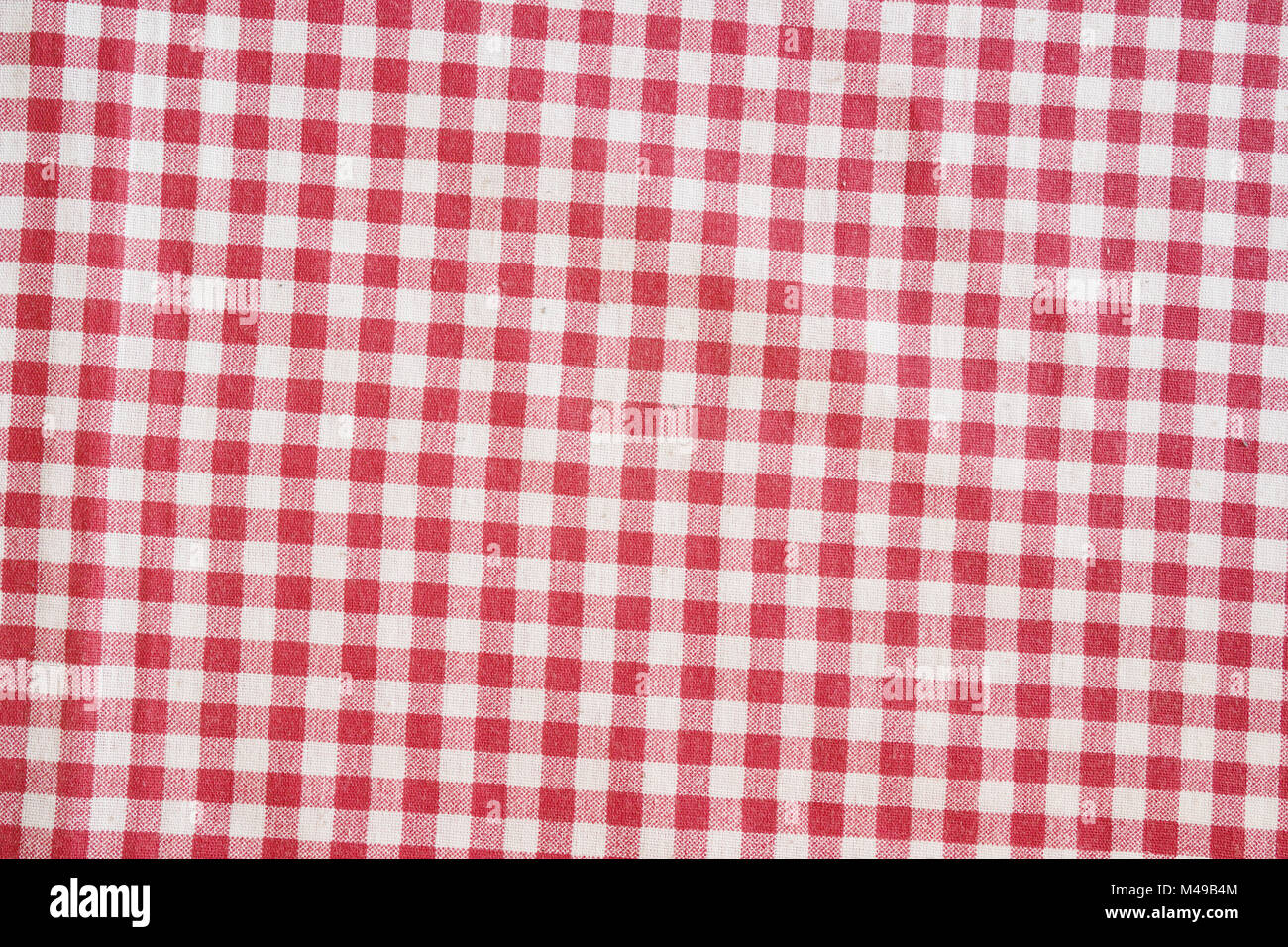 Charmant Red Picnic Tablecloth Background. Red And White Checkered Fabric Texture.