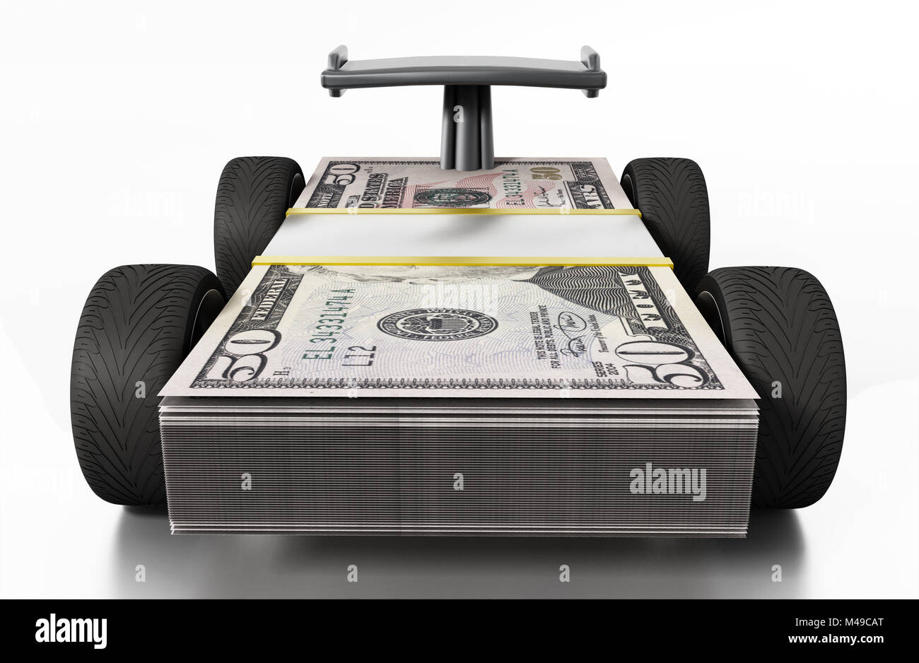 Race tyres and spoiler connected to 50 dollar bills. 3D illustration. - Stock Image