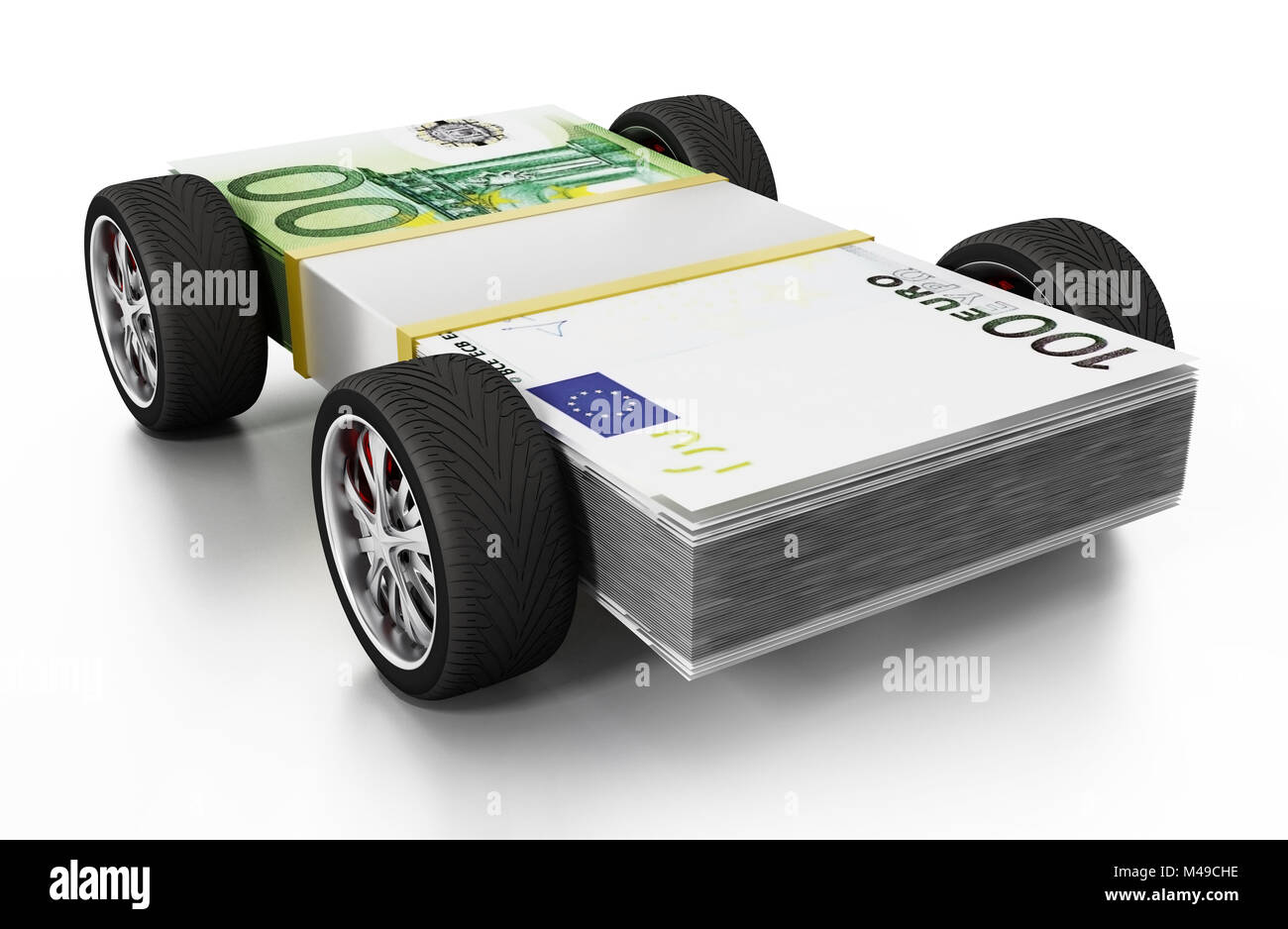 Race tyres connected to 100 Euro bills. 3D illustration. - Stock Image