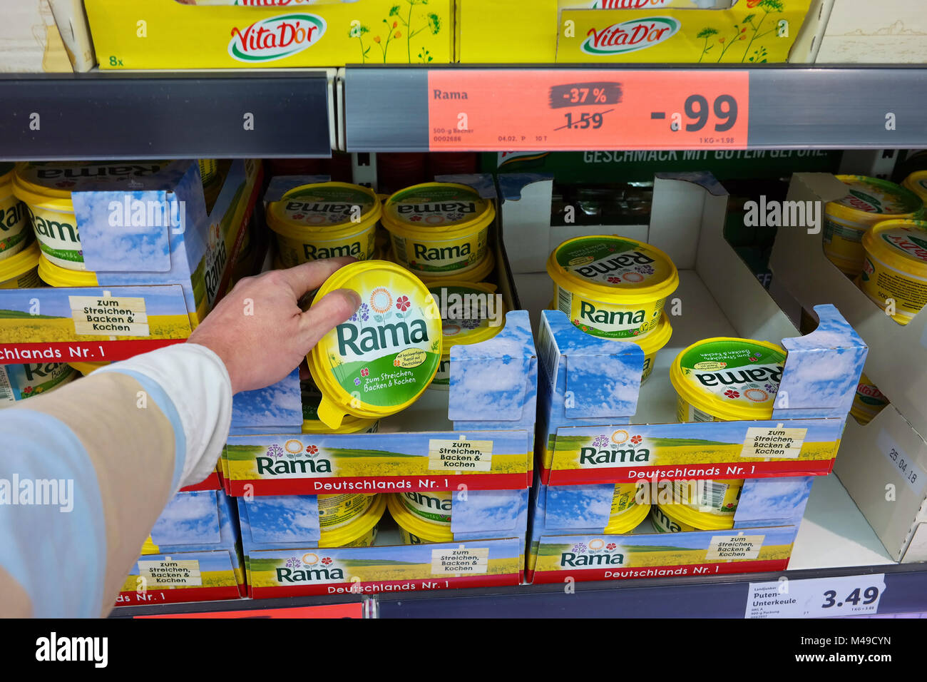 Tubs of Rama Margarine in a store - Stock Image