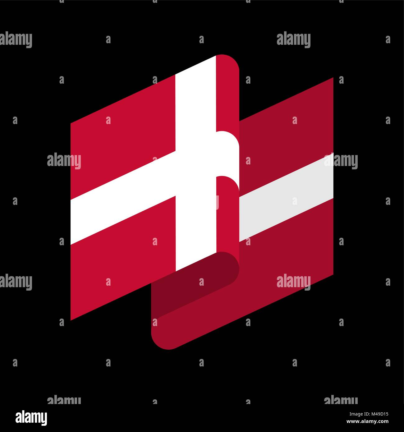 Denmark Flag isolated. Danish ribbon banner. state symbol - Stock Image
