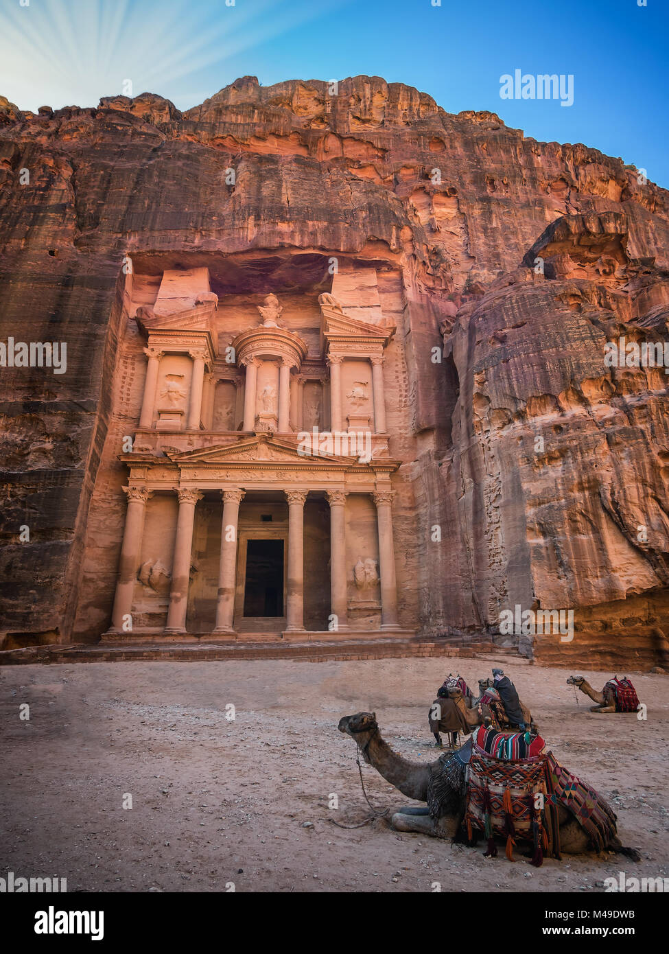 The Shrine in Petra seen from the gorge, Jordan Stock Photo