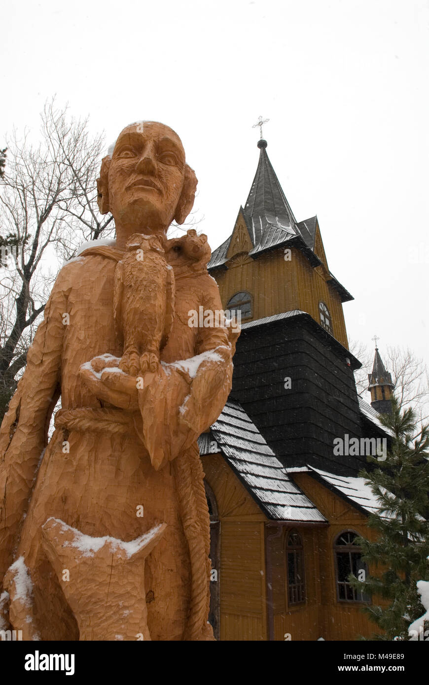 Traditional Wooden Church With Wooden Carved Statue Of St Francis Of