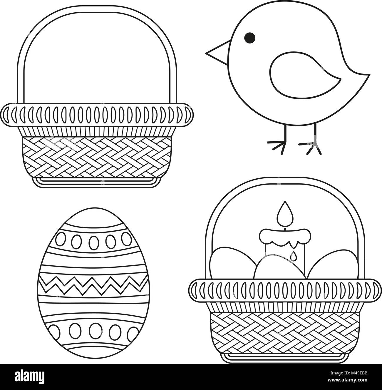Easter Chick Coloring Page Stock Photos & Easter Chick Coloring Page ...