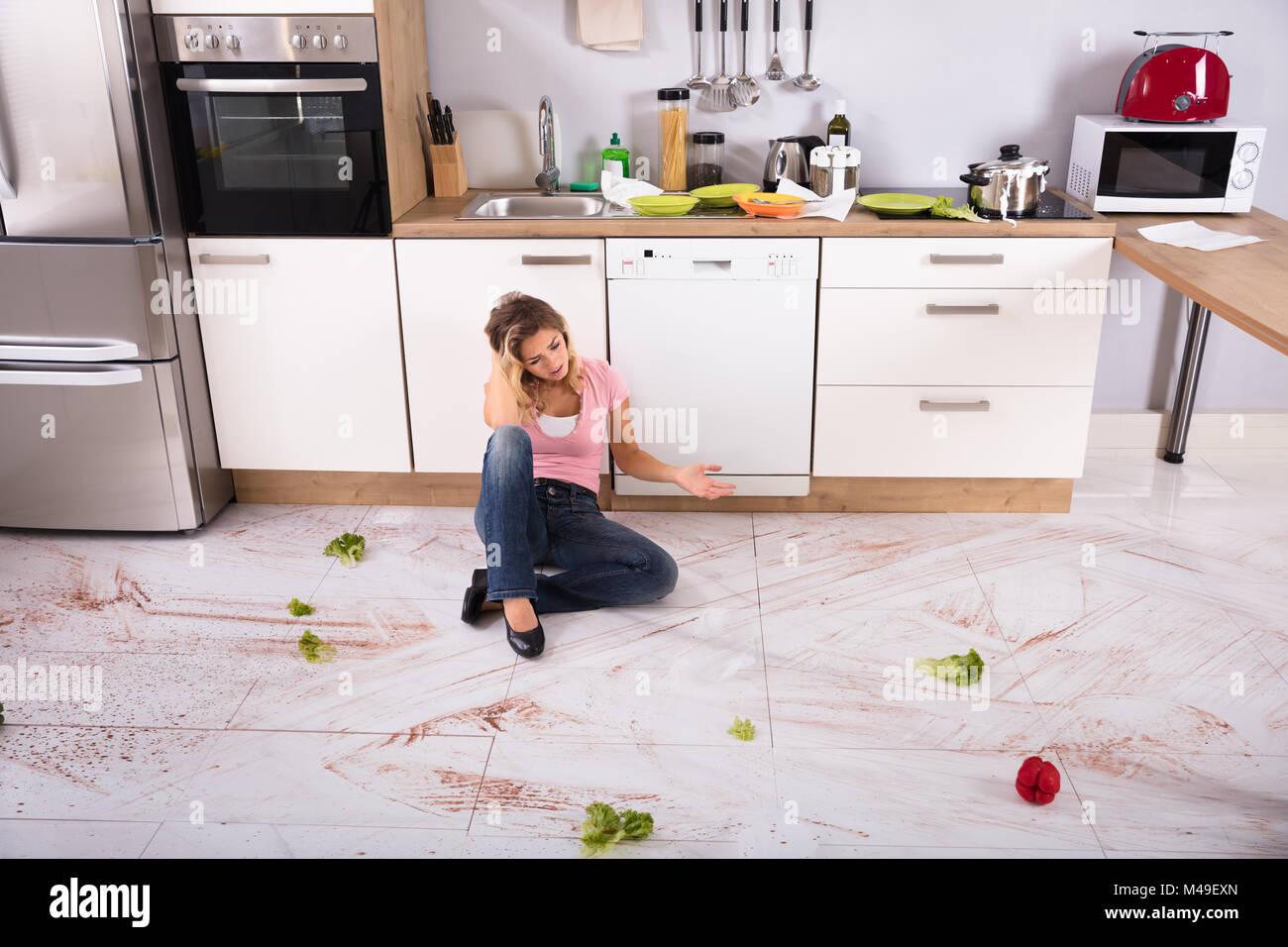 Dirty Kitchen Floor Hot Girl Hd Wallpaper