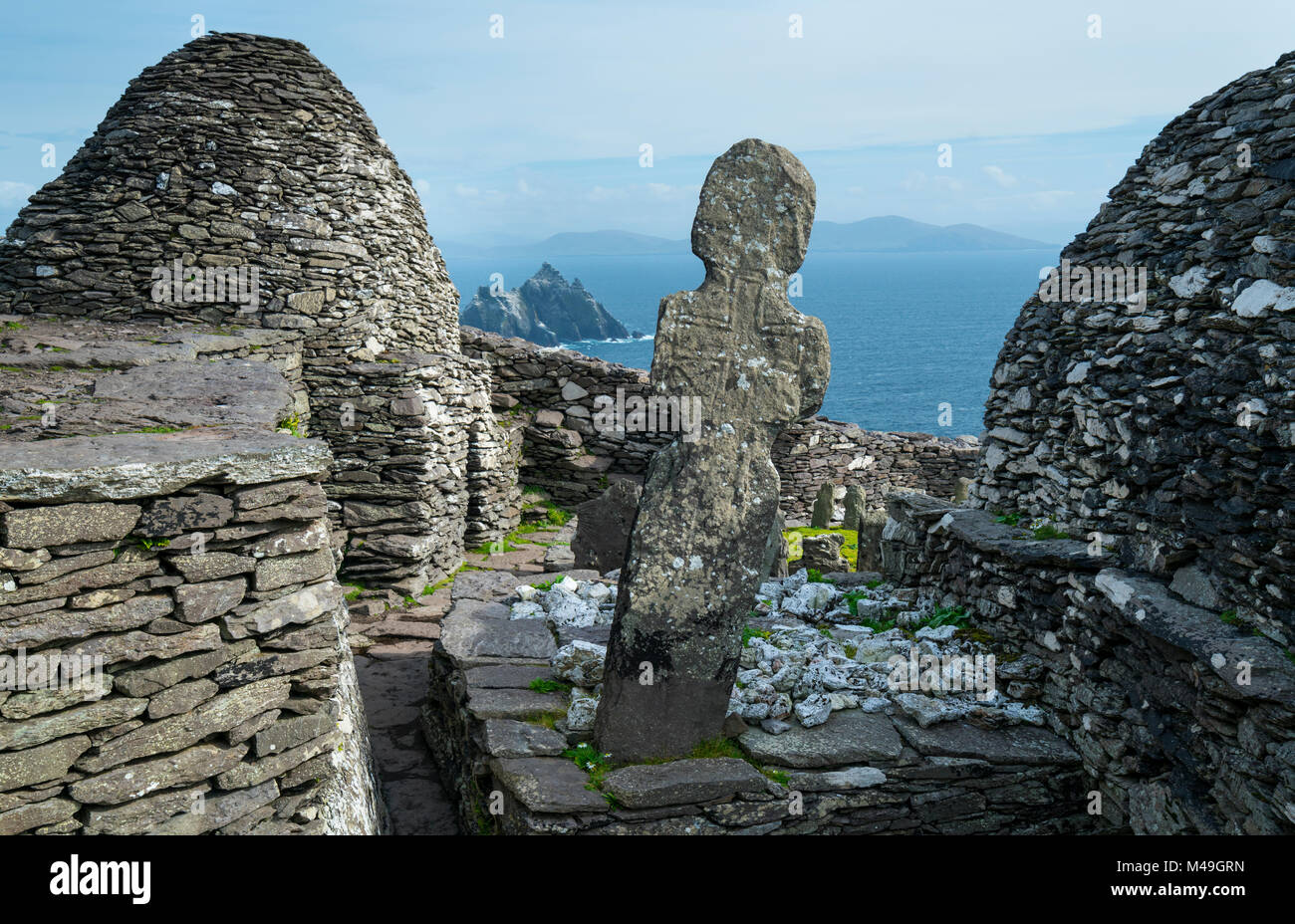 Monastery on Skellig Michael, Skellig Islands World Heritage Site, County Kerry, Ireland, Europe. September 2015. - Stock Image