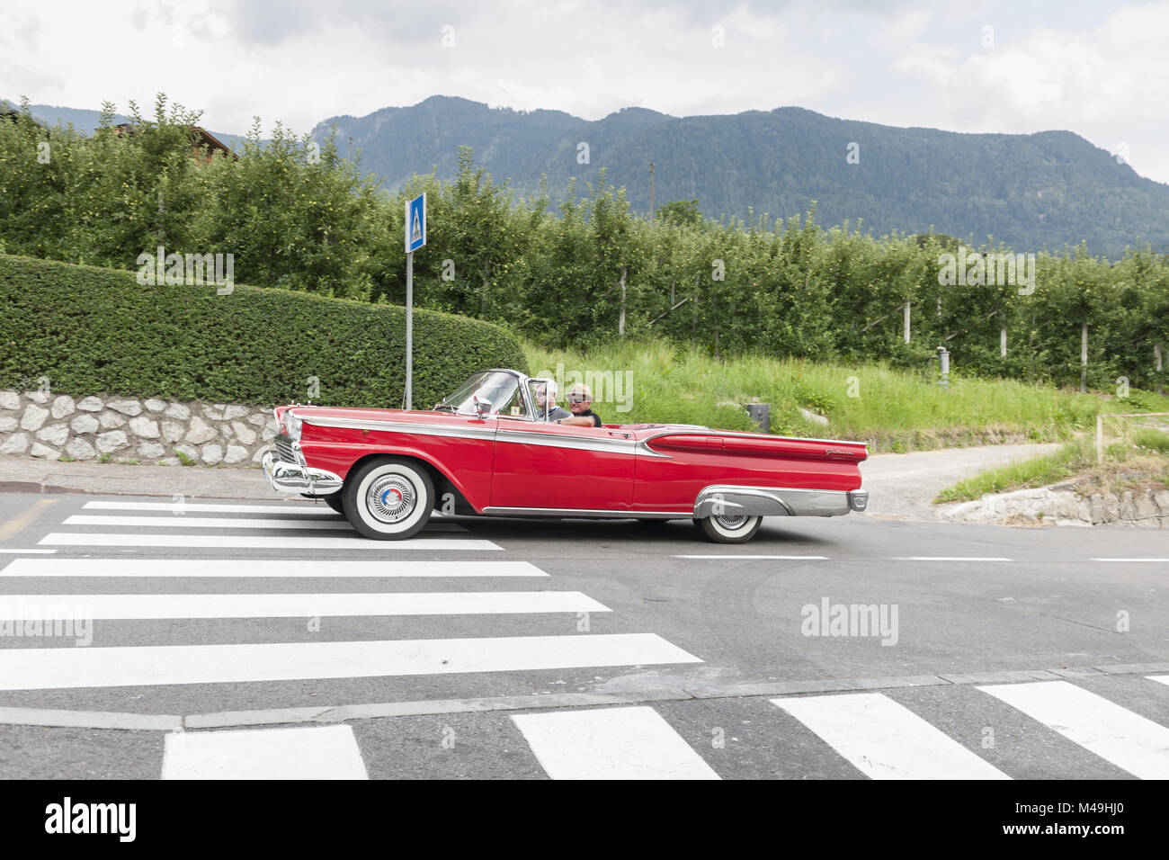 South Tyrol Rallye 2016_Ford Galaxie Convertible_side - Stock Image