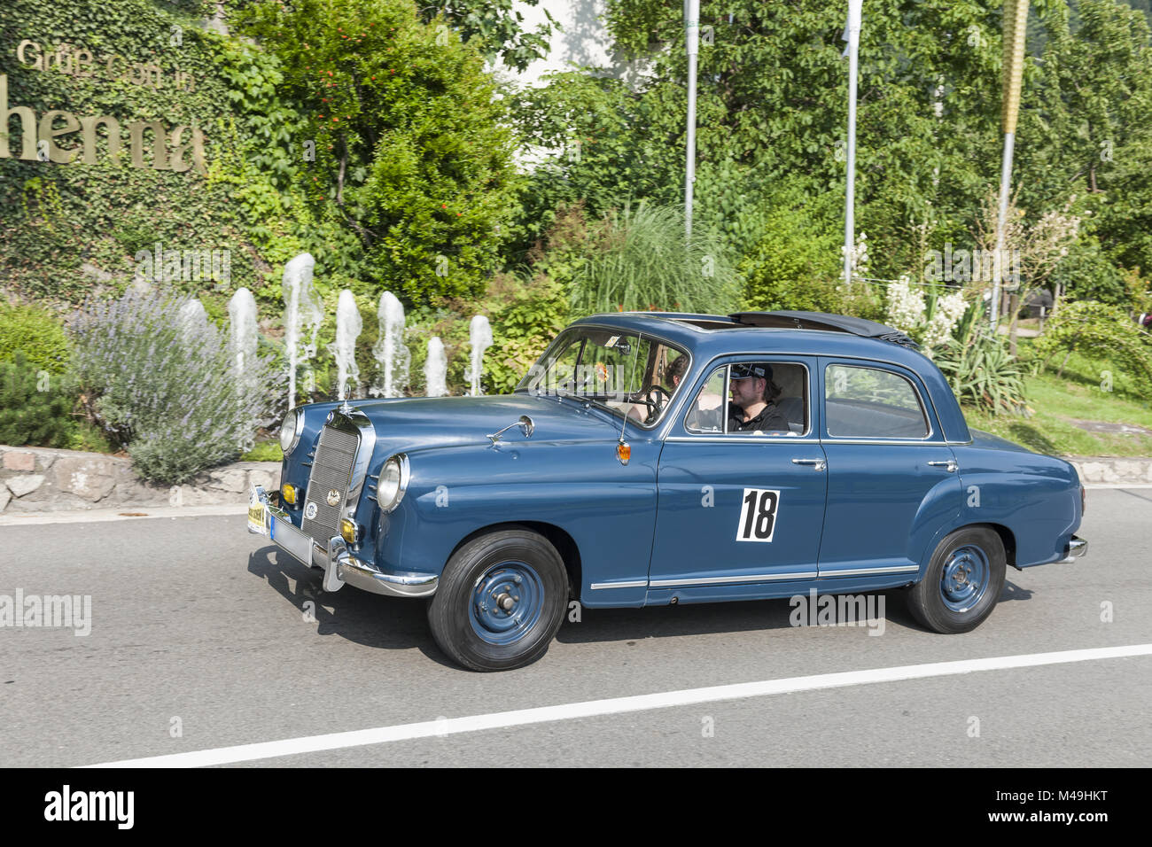 South Tyrol Rallye 2016_Mercedes Ponton 190_blue - Stock Image