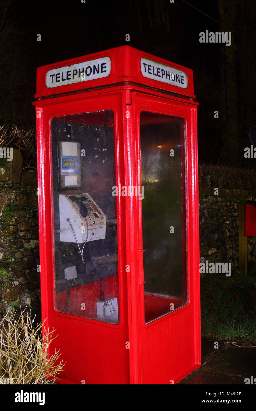 A K8 type Telephone Box located on a caravan park in Ingleton, North Yorkshire - Stock Image