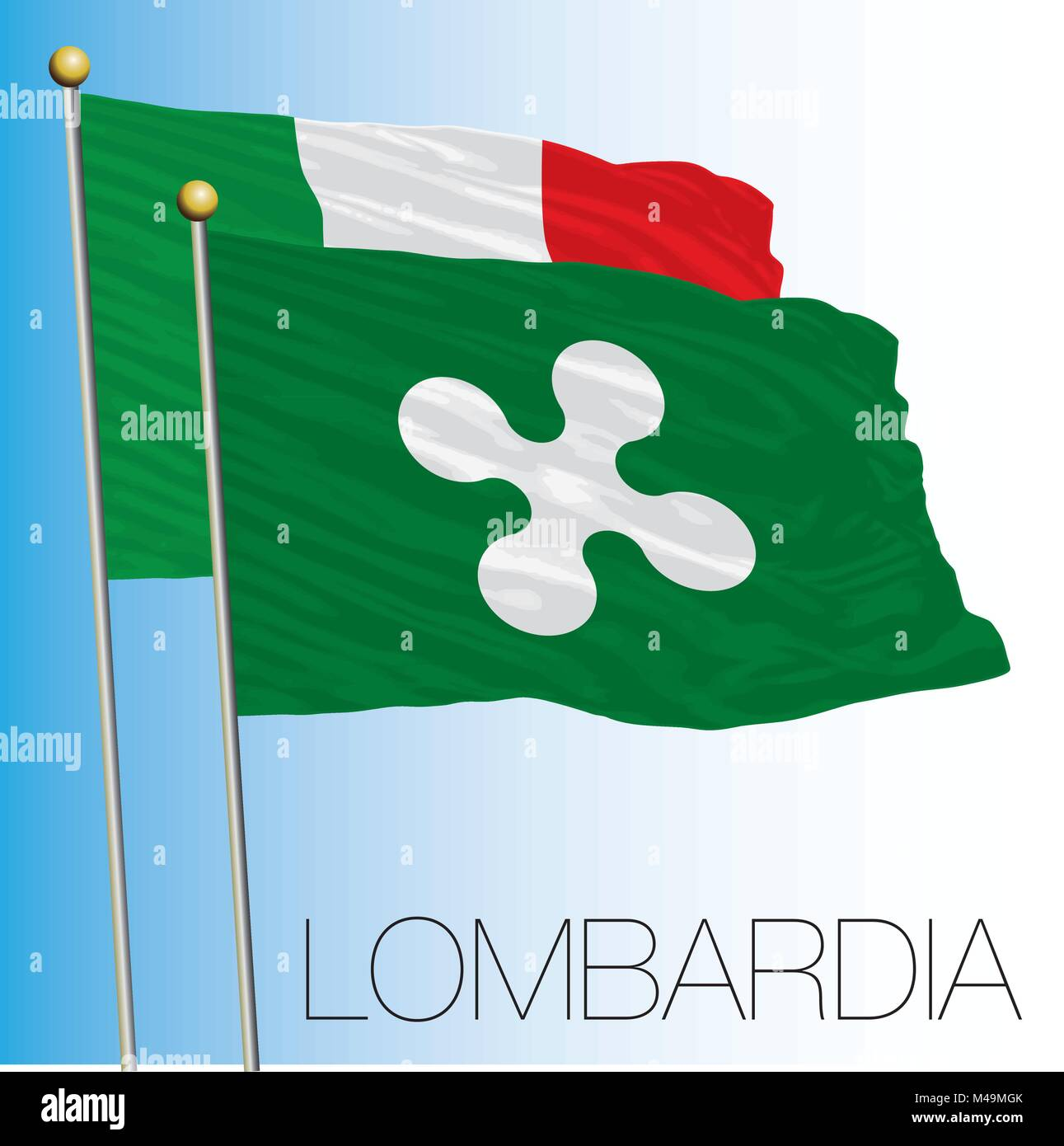 Lombardy regional flag, Italian Republic, Italy, European Union - Stock Vector