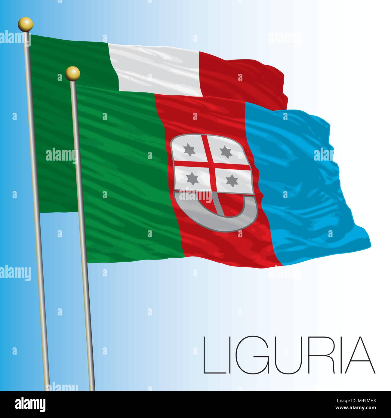 Liguria regional flag, Italian Republic, Italy, European Union - Stock Vector