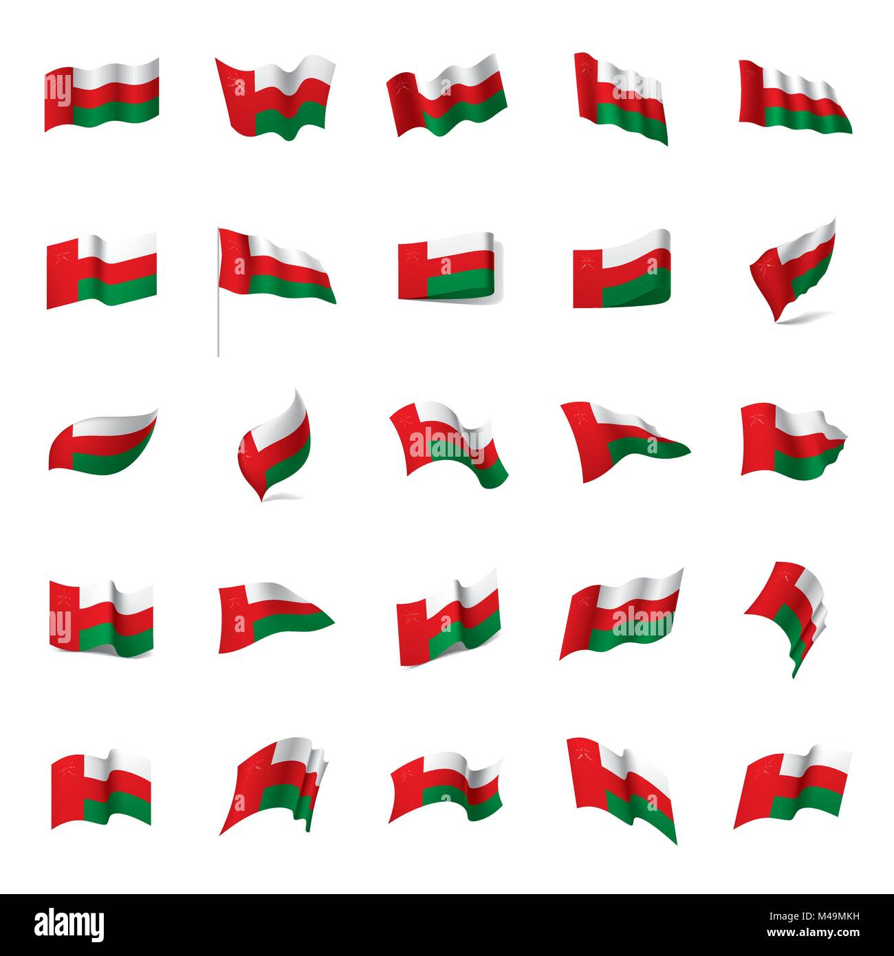 Oman flag, vector illustration - Stock Image