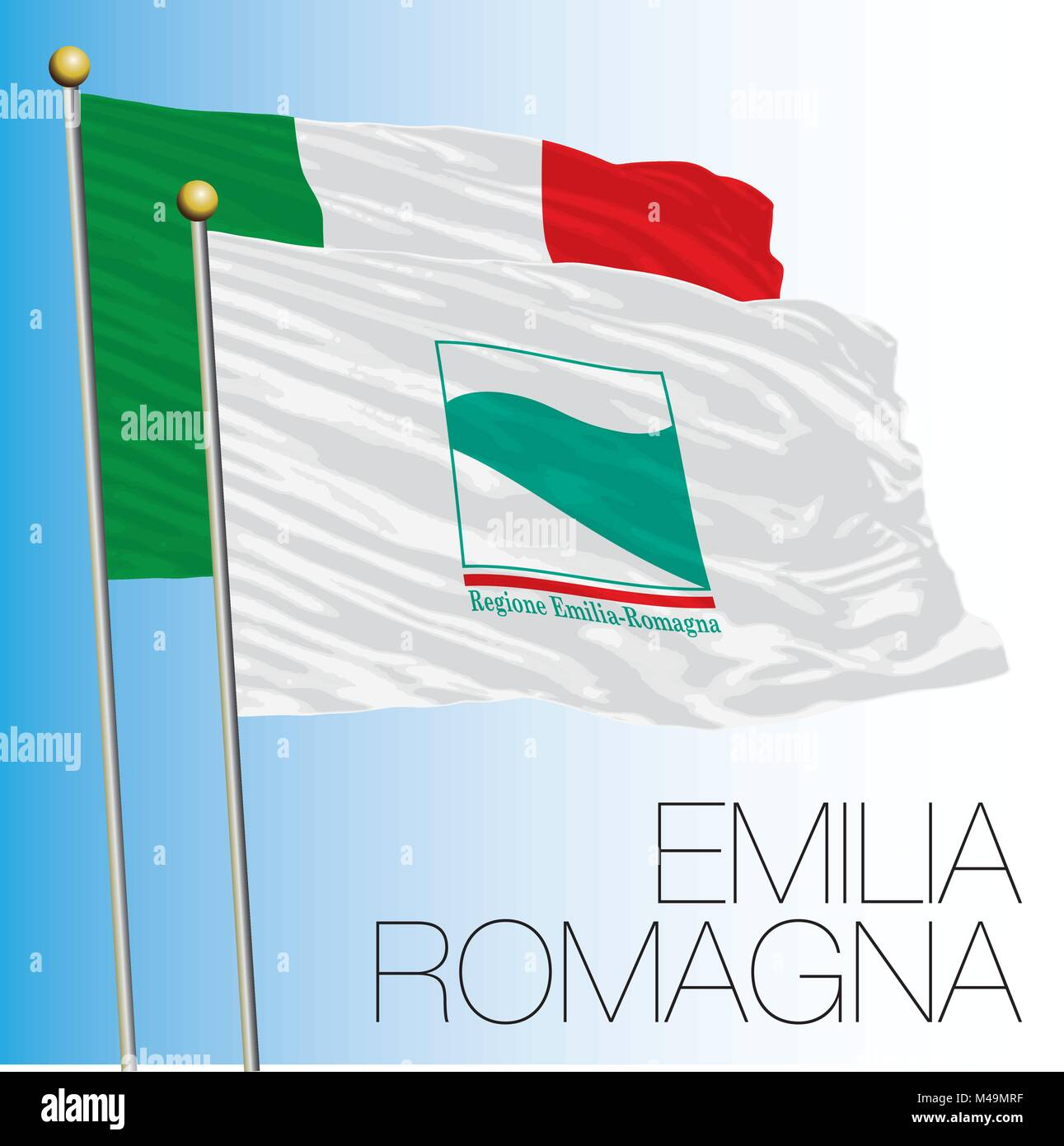 Emilia Romagna regional flag, Italian Republic, Italy, European Union - Stock Vector