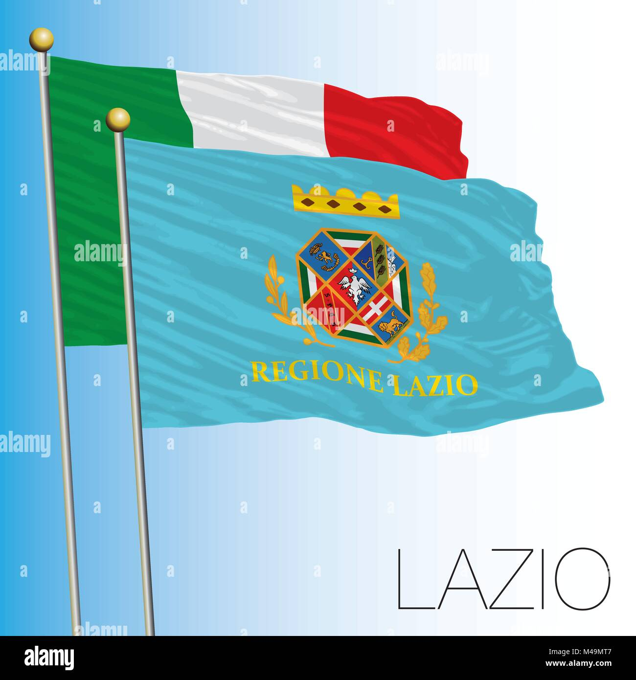 Lazio regional flag, Italian Republic, Italy, European Union - Stock Vector