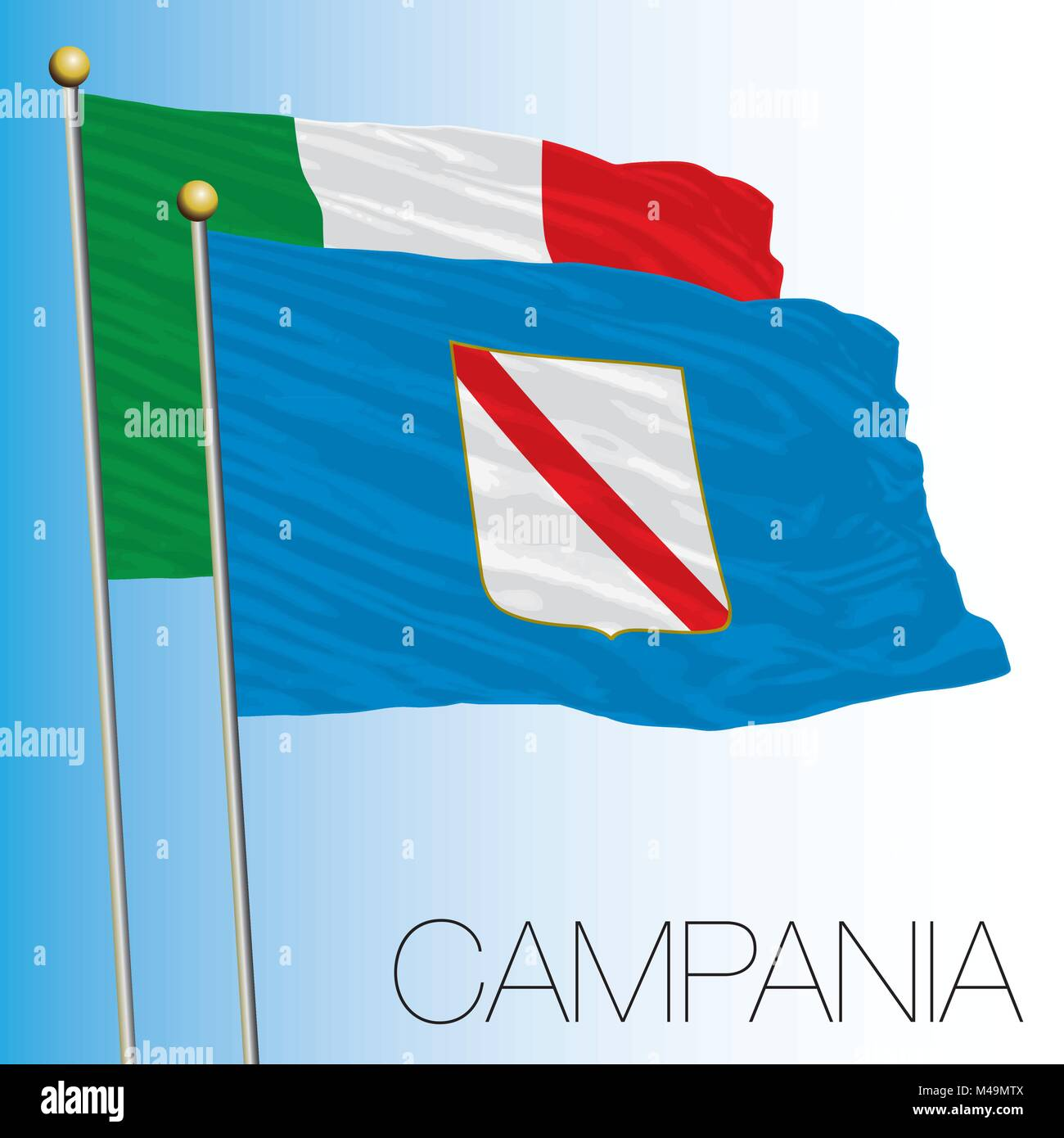 Campania regional flag, Italian Republic, Italy, European Union - Stock Vector